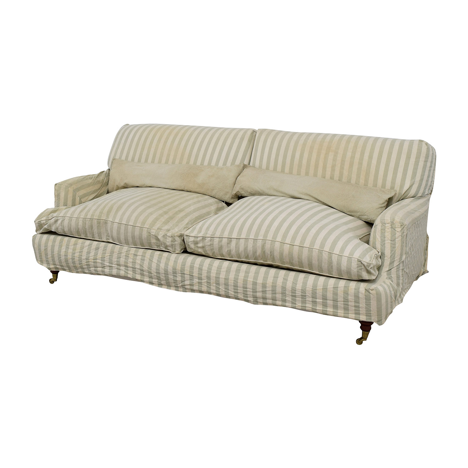 Used Sofas Online: Green And White Striped English Roll-arm Sofa