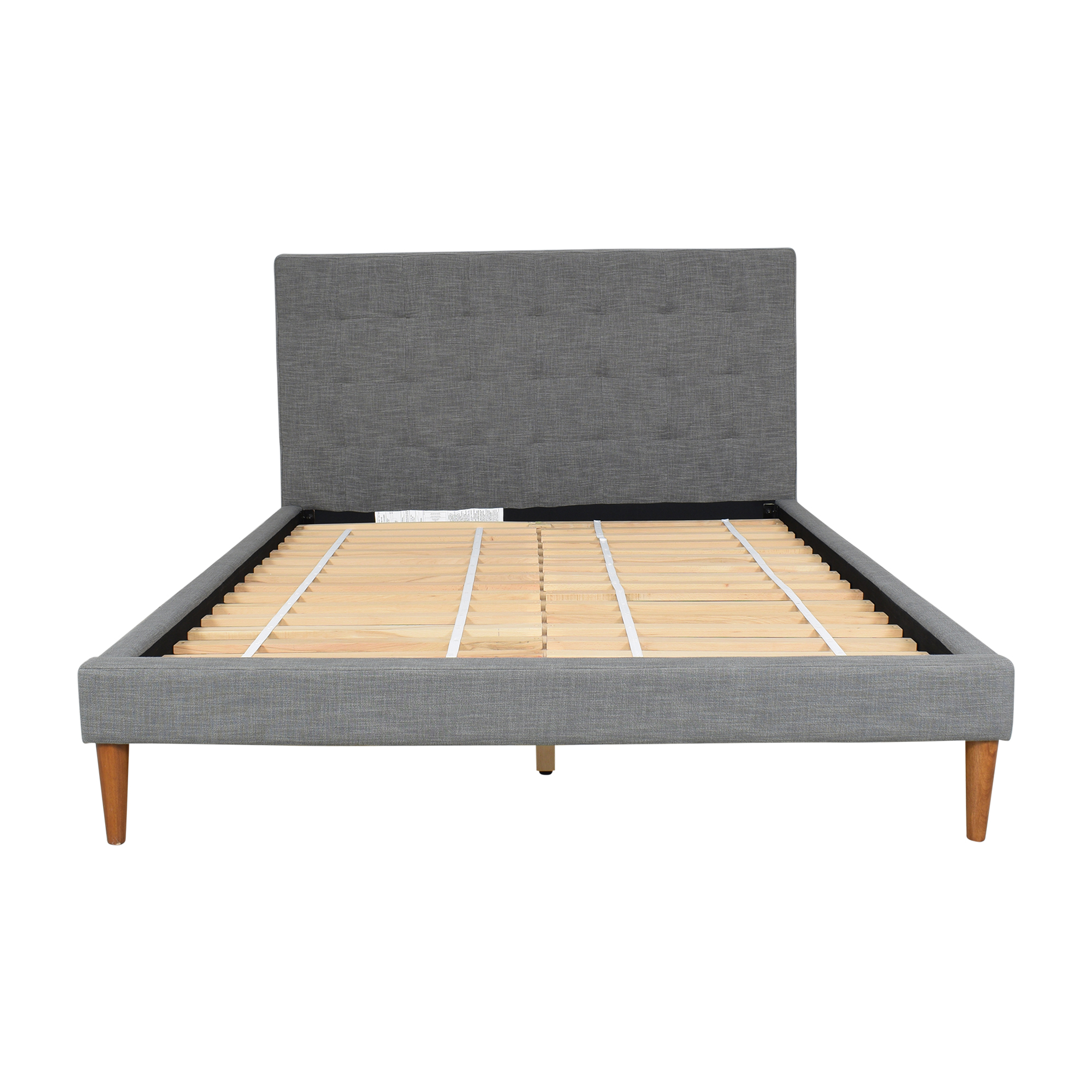 West Elm West Elm Grid Tufted Upholstered Tapered Leg Queen Bed used