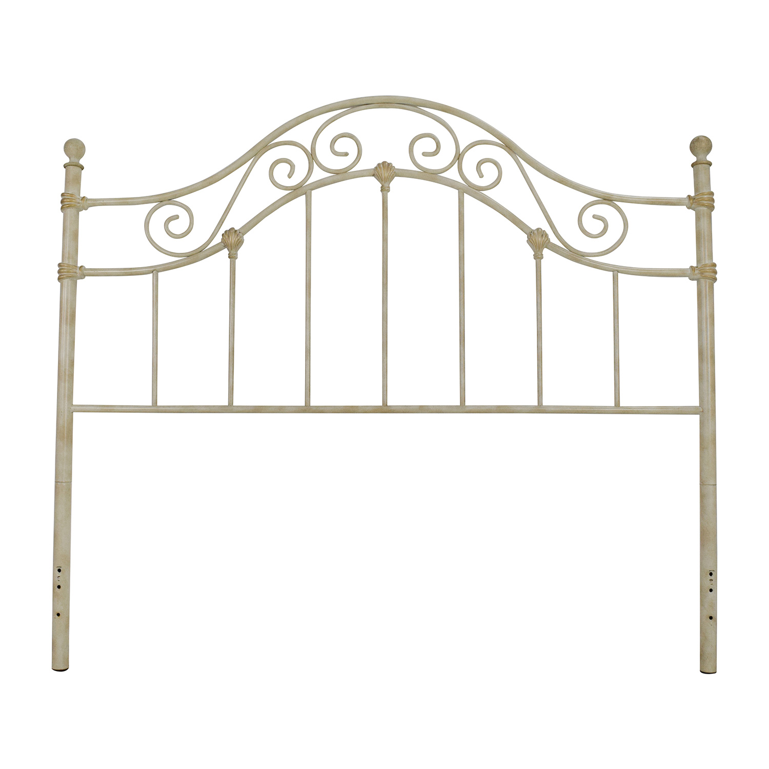Rustic Beige Metal Scrolled Queen Headboard dimensions