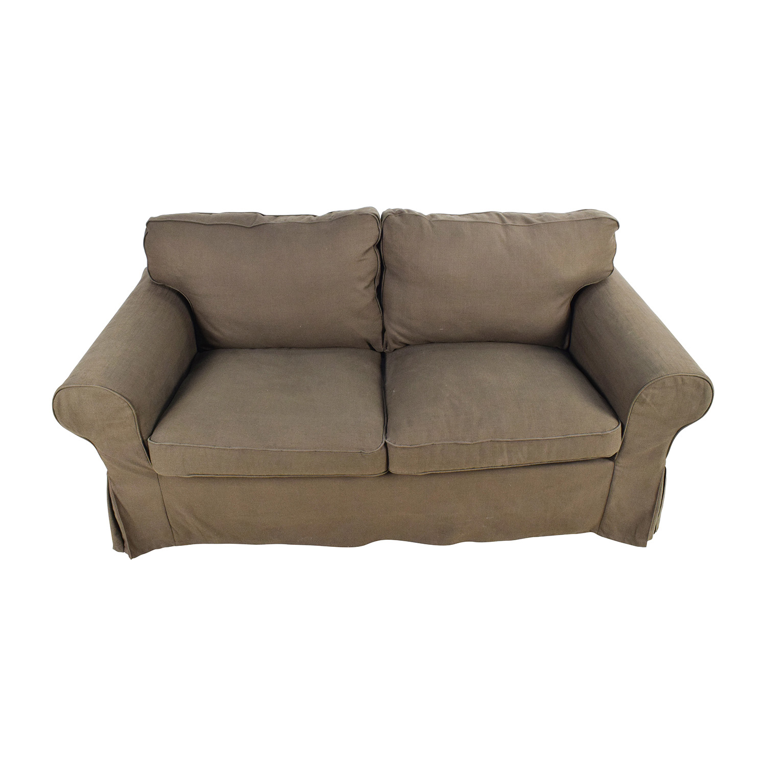 Brown Skirted Loveseat on sale