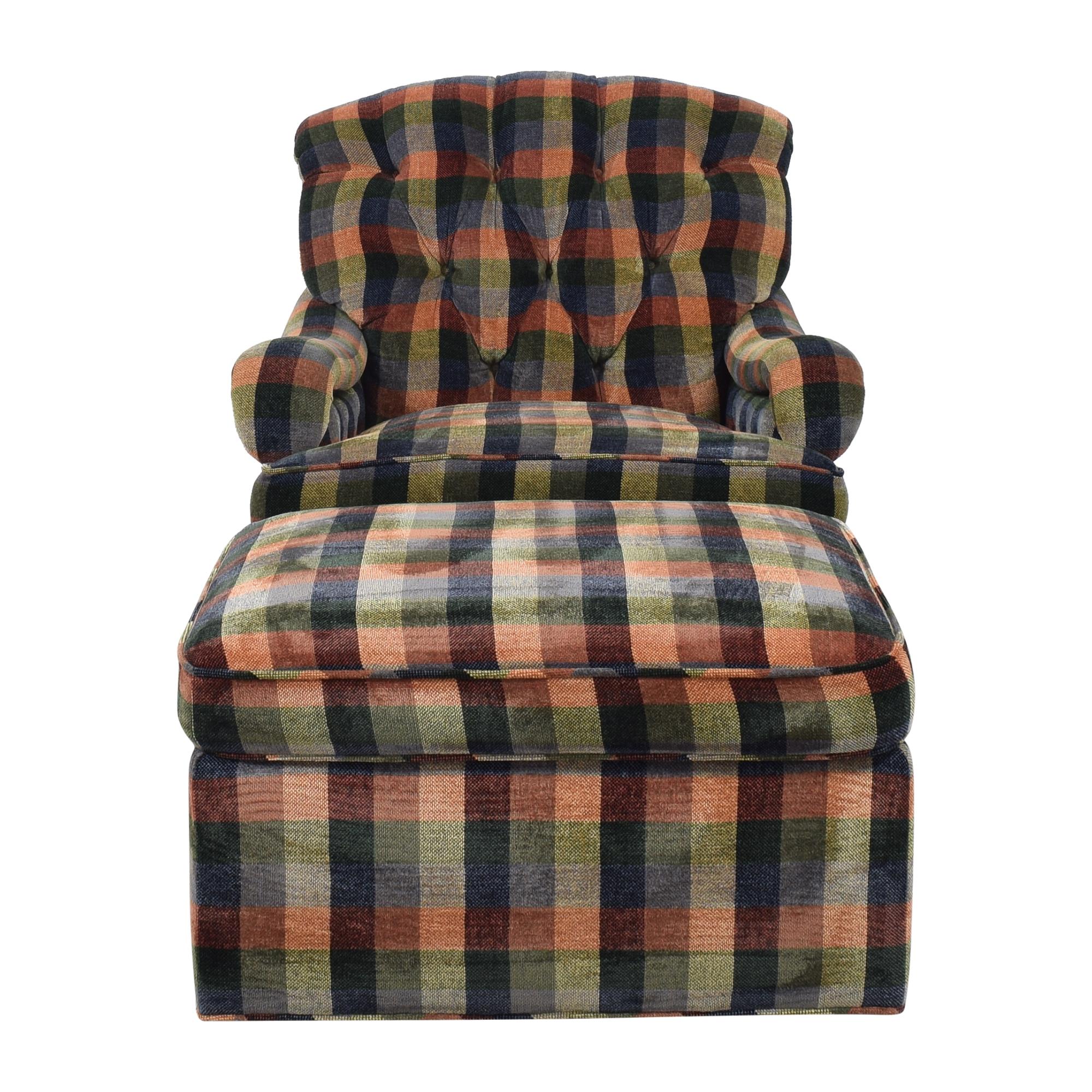 shop Edward Ferrell Tufted Plaid Chair with Ottoman Edward Ferrell Chairs