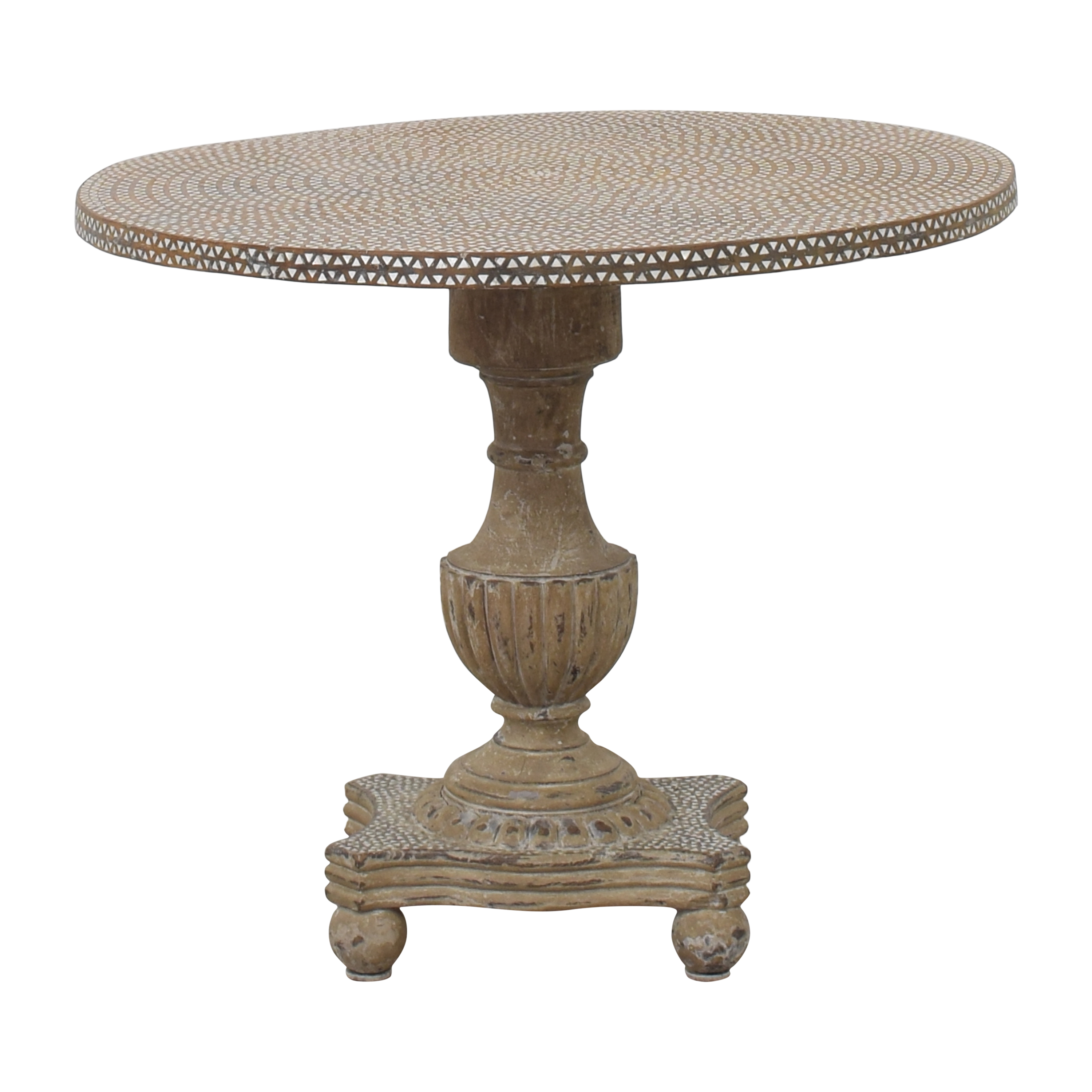 Distressed Pedestal Accent Table  Accent Tables