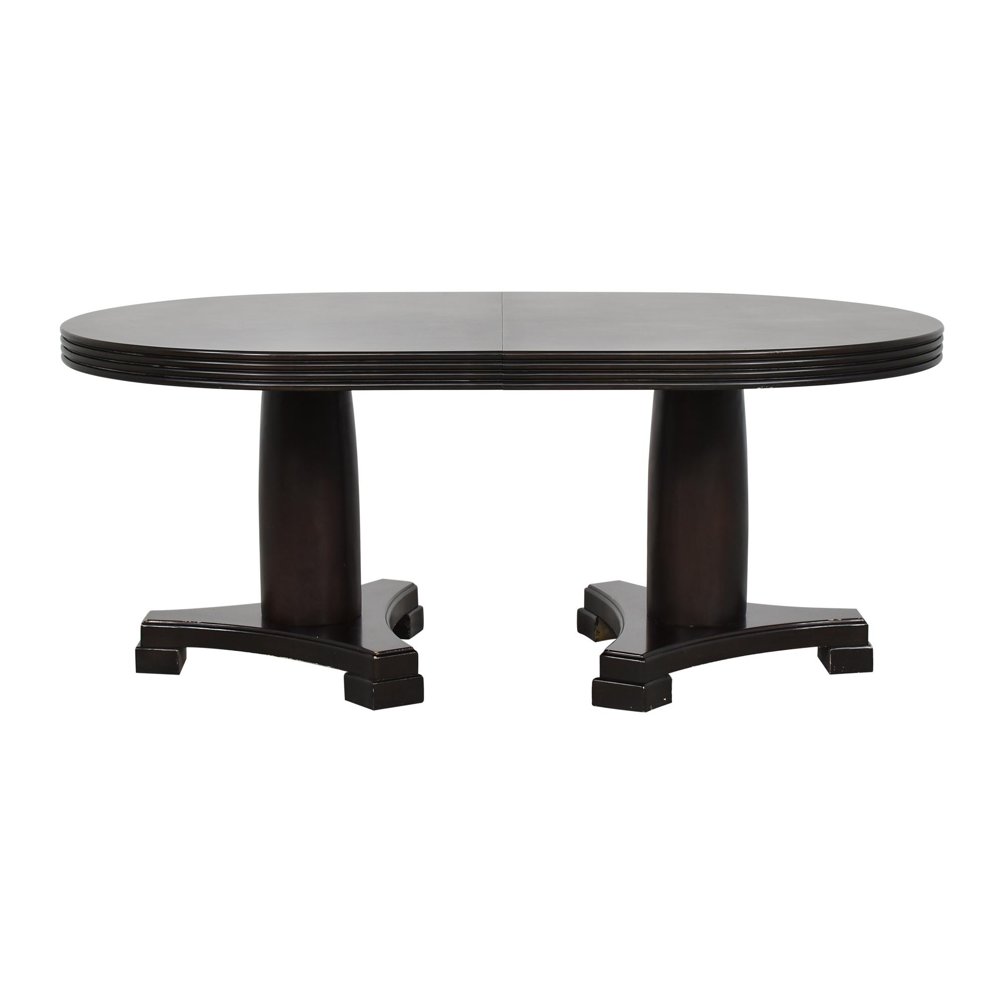 Double Pedestal Extendable Dining Table Black