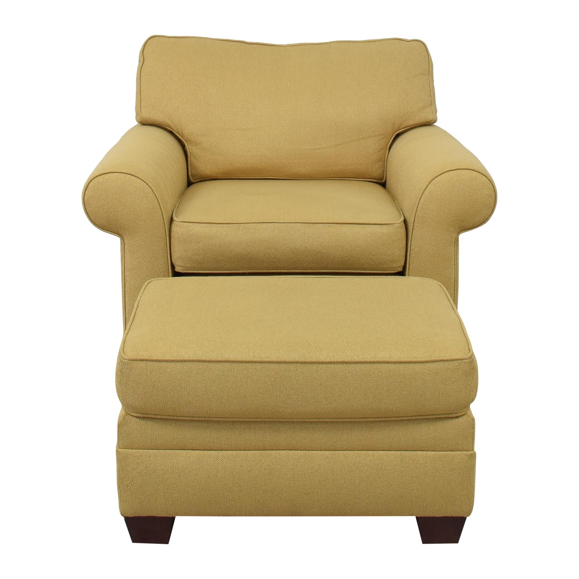 Ethan Allen Ethan Allen Bennett Roll Arm Chair with Ottoman nj