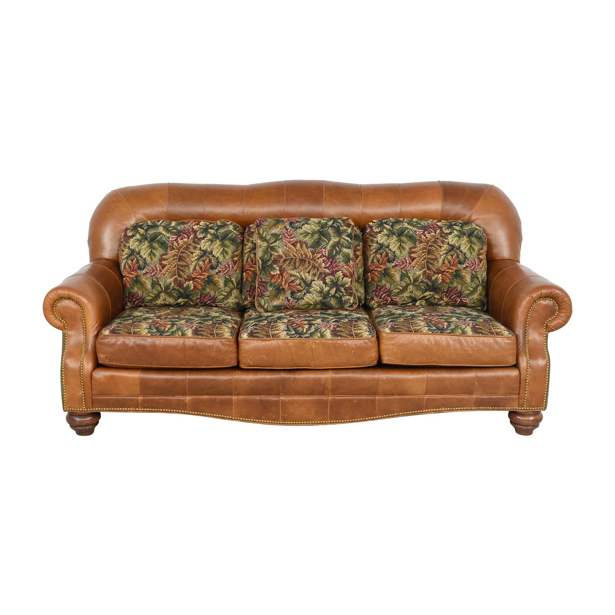 Three Cushion Nailhead Roll Arm Sofa sale