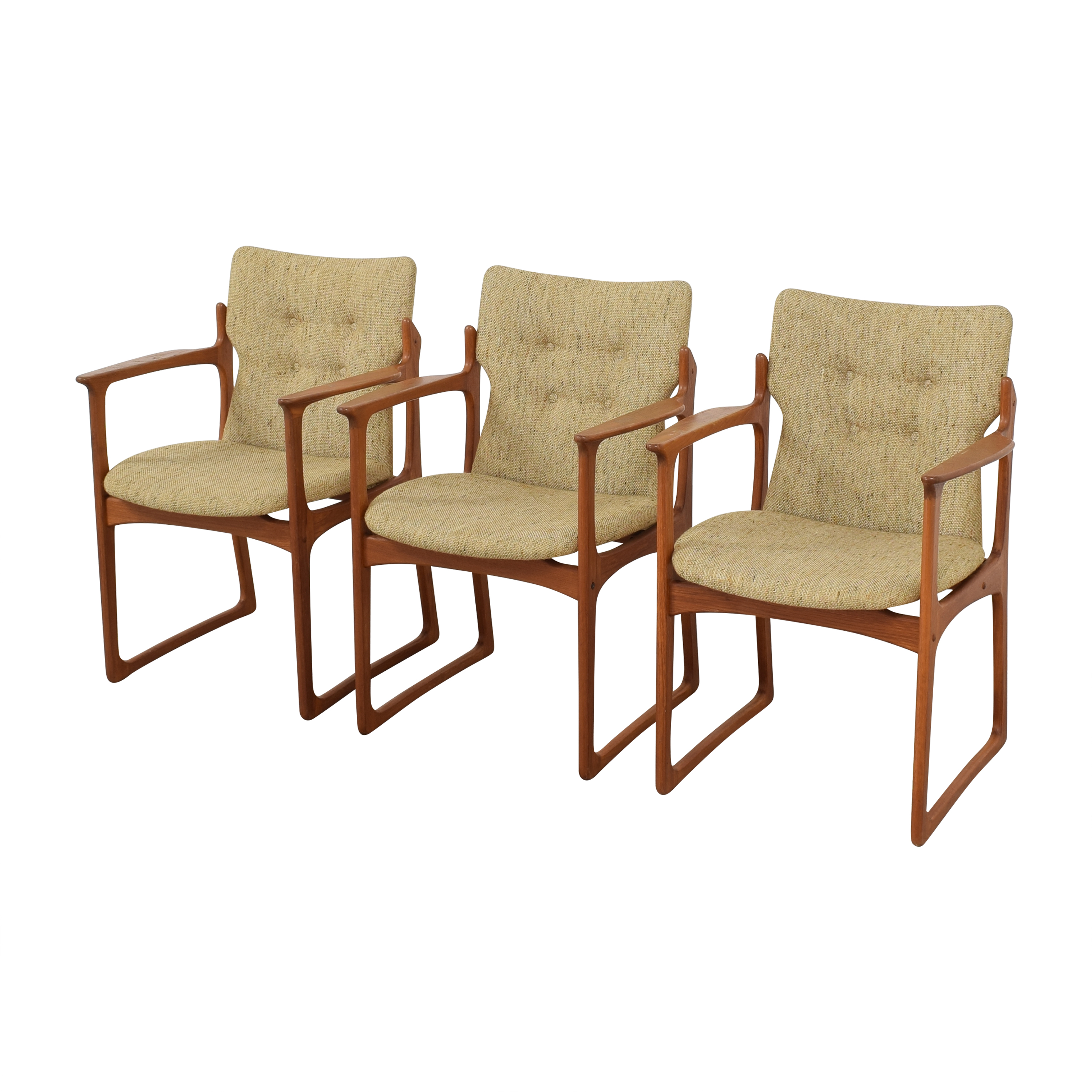 Vintage Danish Upholstered Dining Chairs  nyc