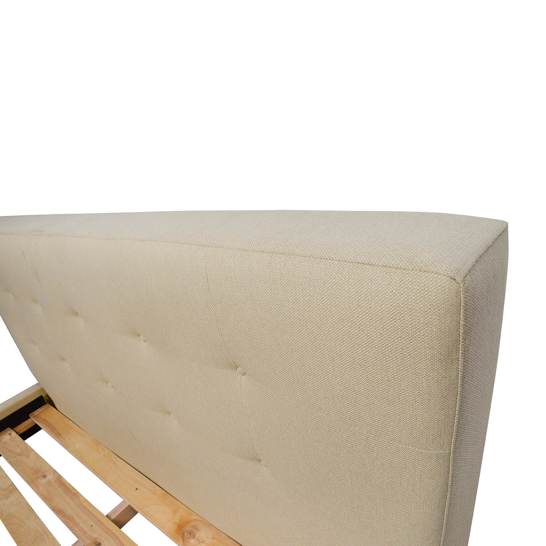 Crate and Barrel Crate & Barrel Tate Beige Linen Queen Size Bedframe nyc