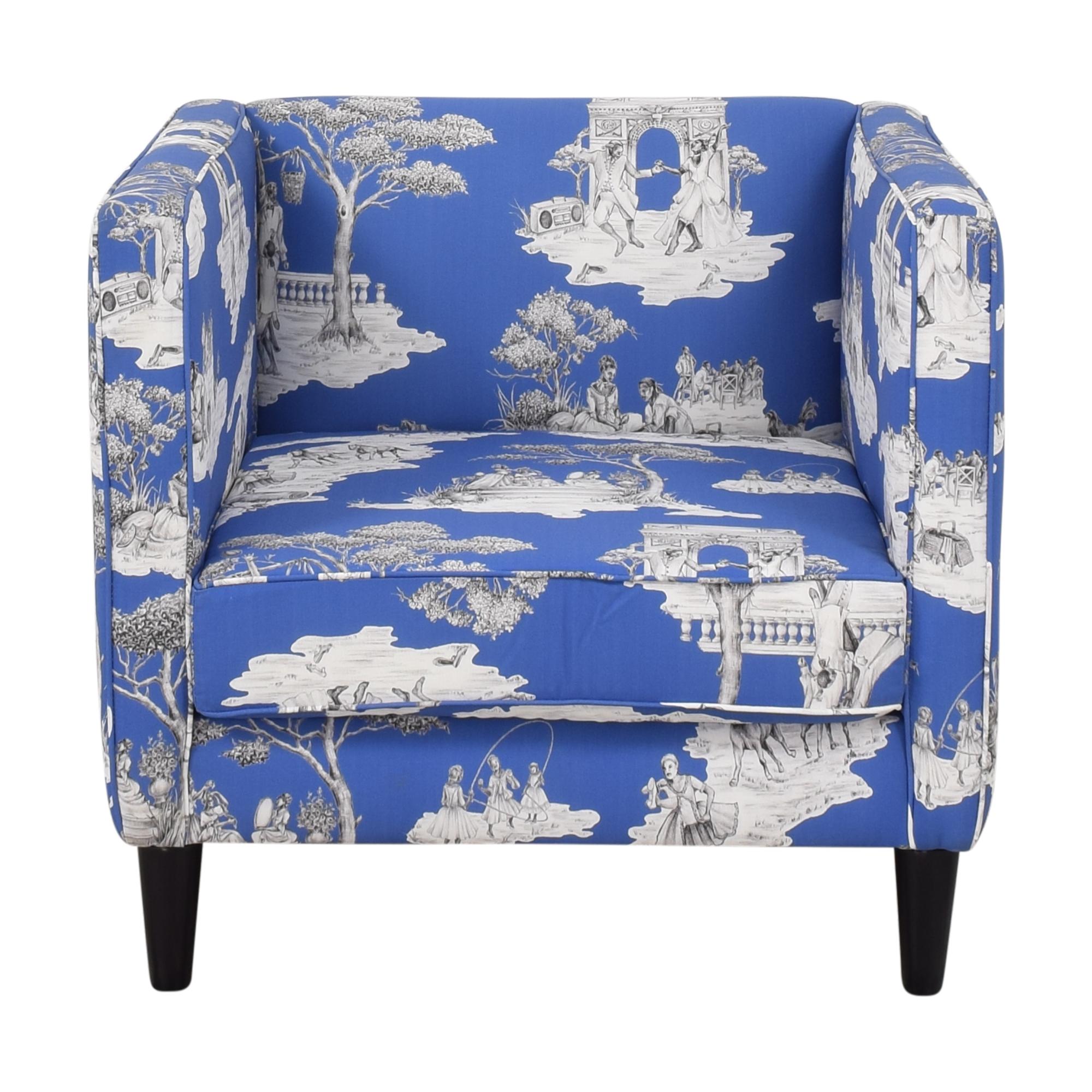 The Inside The Inside Paris Blues Harlem Toile de Jouy Tuxedo Chair dimensions
