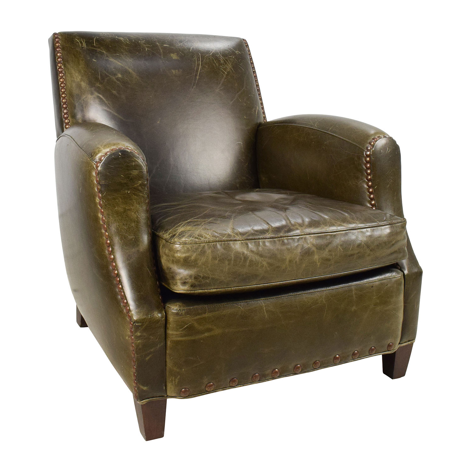 83% OFF   Crate U0026 Barrel Crate U0026 Barrel Metropole Brown Leather Armchair /  Chairs