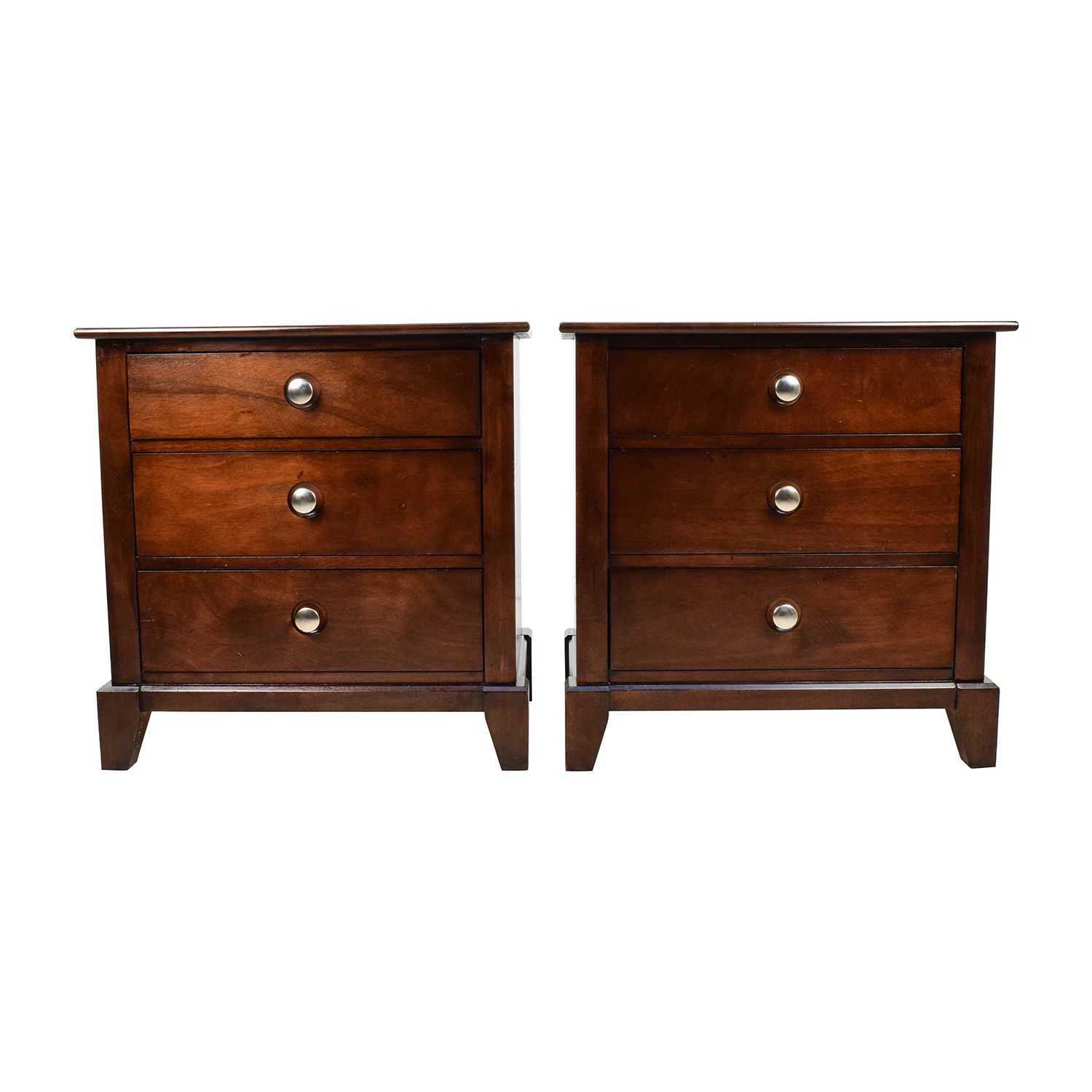 Buy Solid Dark Wood Nightstand Set Of Two ...