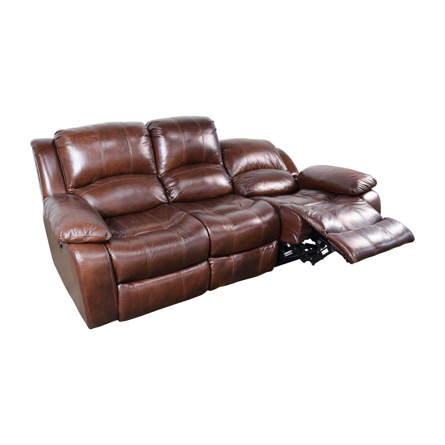 51 off raymour and flanigan raymour flanigan bryant for Leather reclining sofa