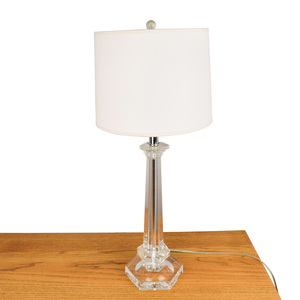 Lucite Table Lamp with White Shade