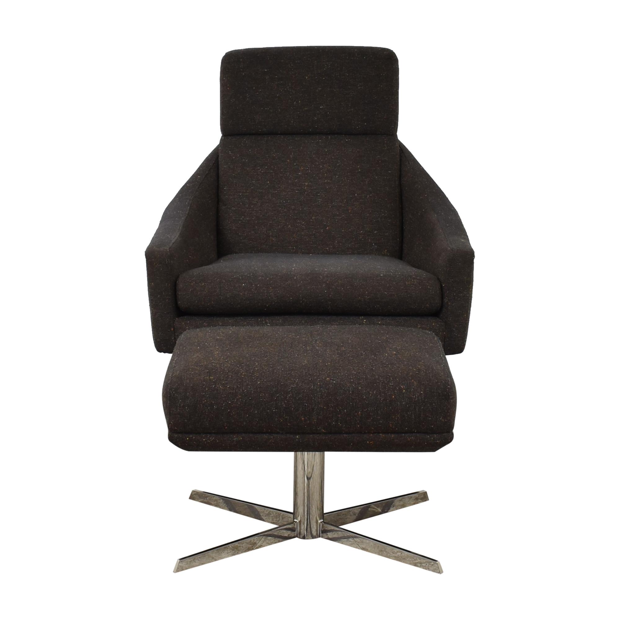 West Elm West Elm Austin Swivel Arm Chair with Ottoman pa