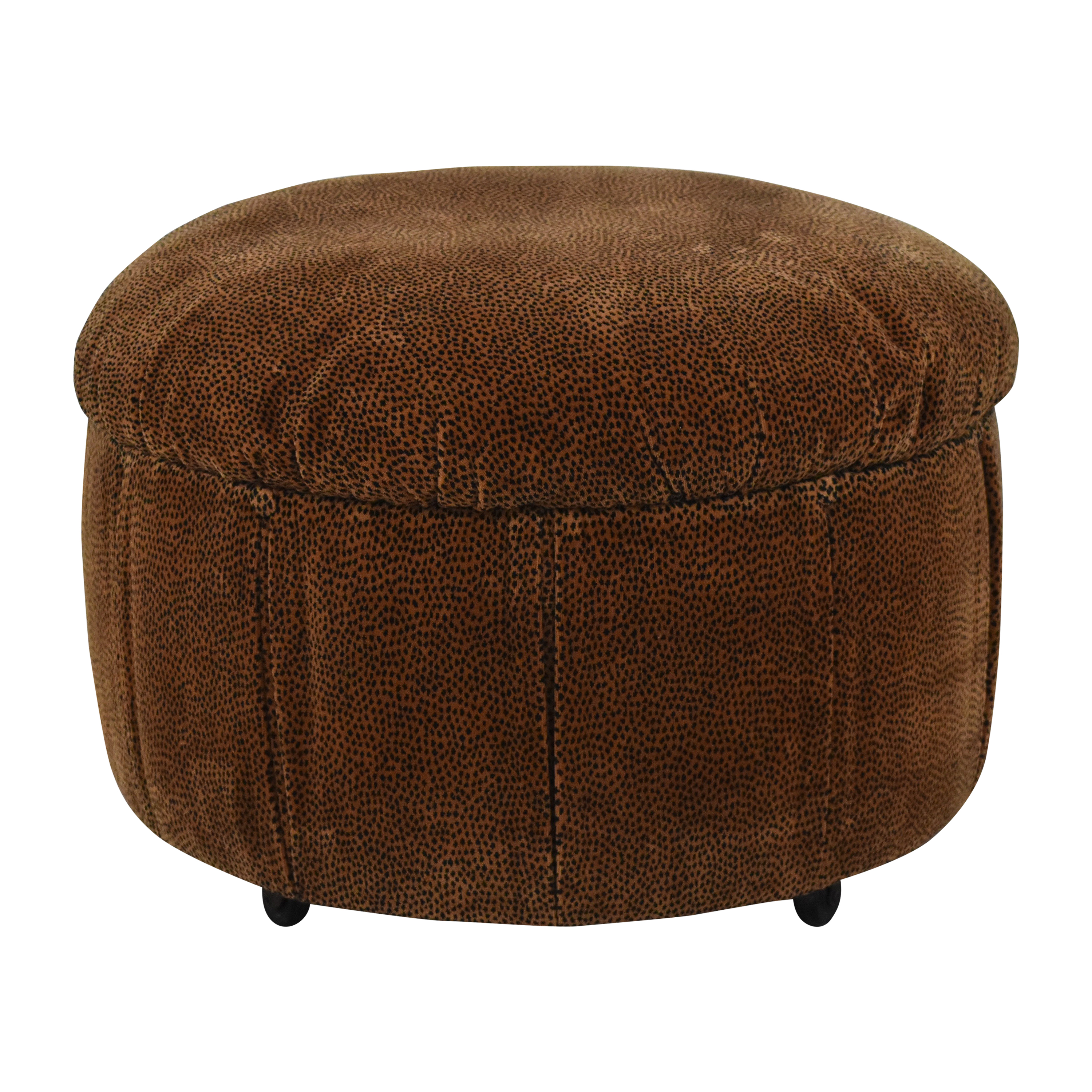 Upholstered Round Ottoman brown