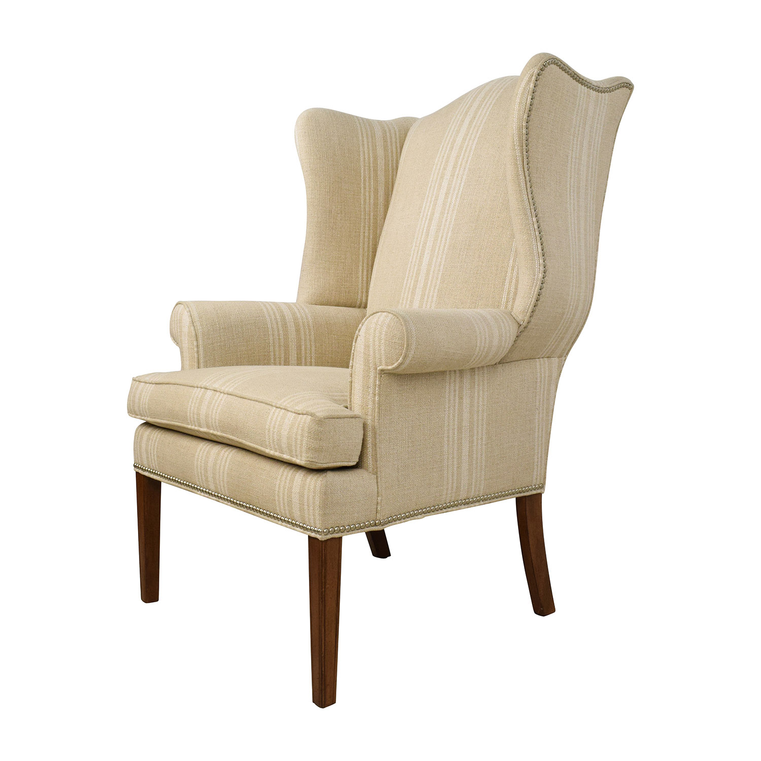 shop ethan allen skylar stripped wing chair ethan allen chairs