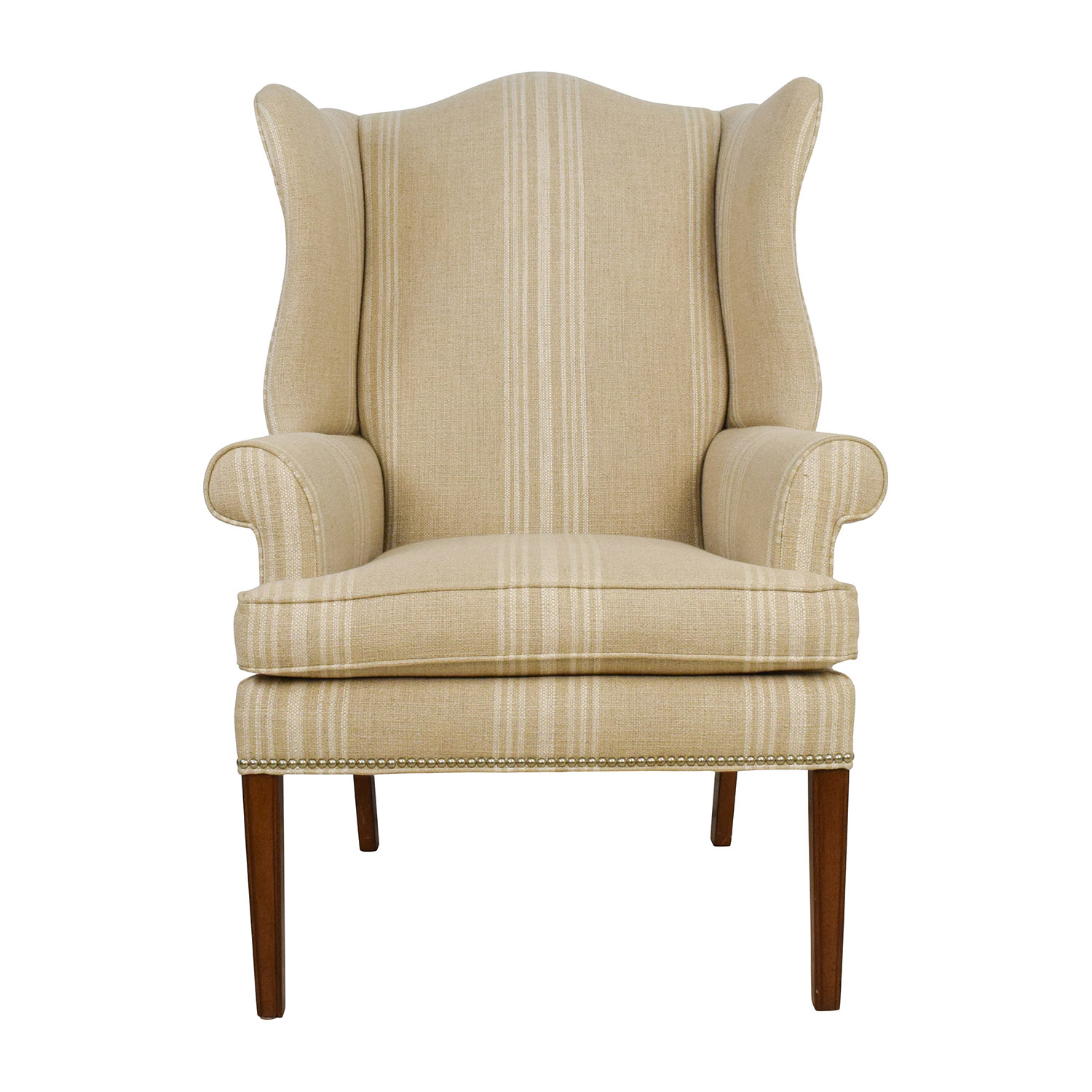Ethan Allen Ethan Allen Skylar Stripped Wing Chair tan