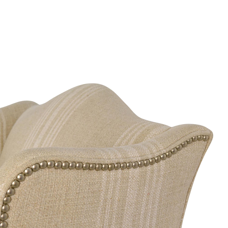 Ethan Allen Ethan Allen Skylar Stripped Wing Chair tan