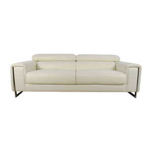 J & M Soho White Leather Sofa price