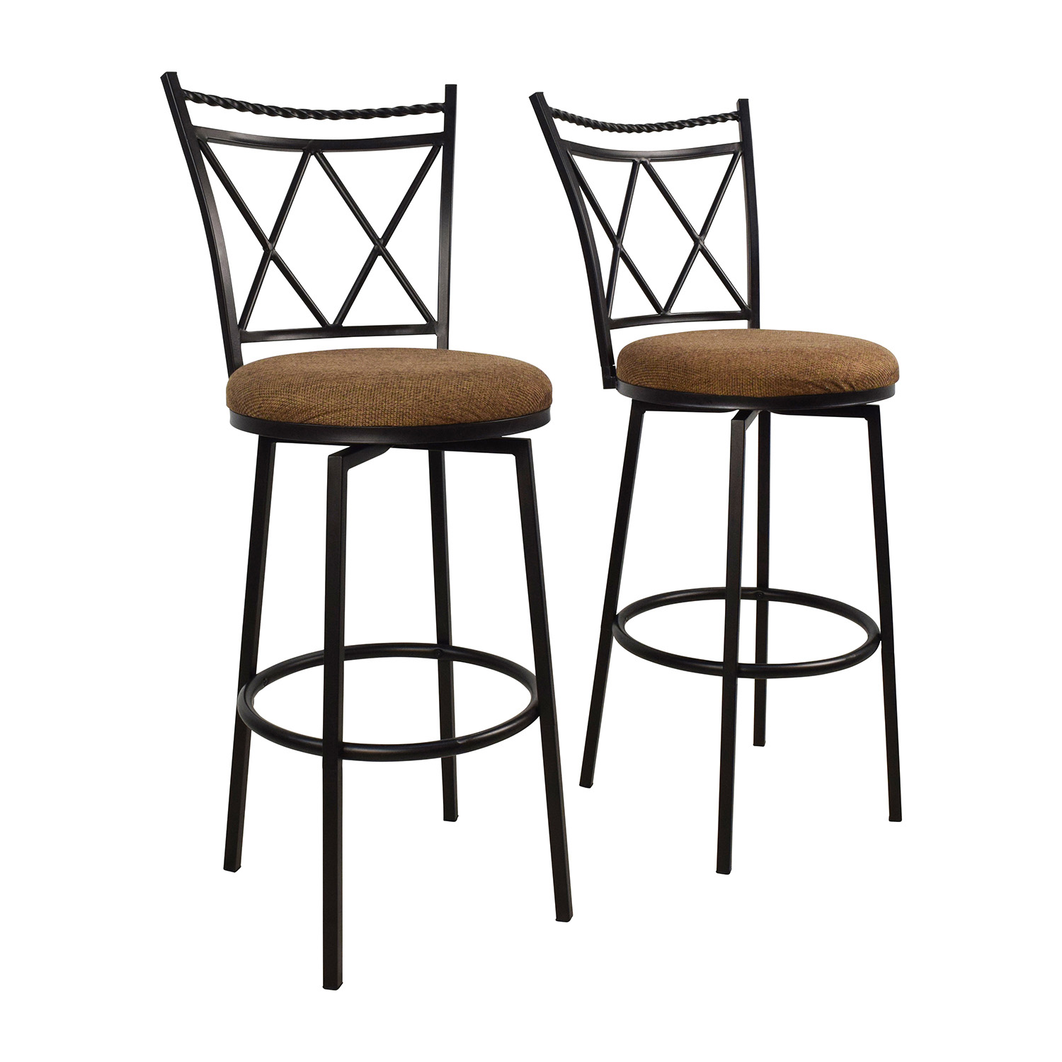 65 Off Upholstered Swivel Bar Stools Chairs