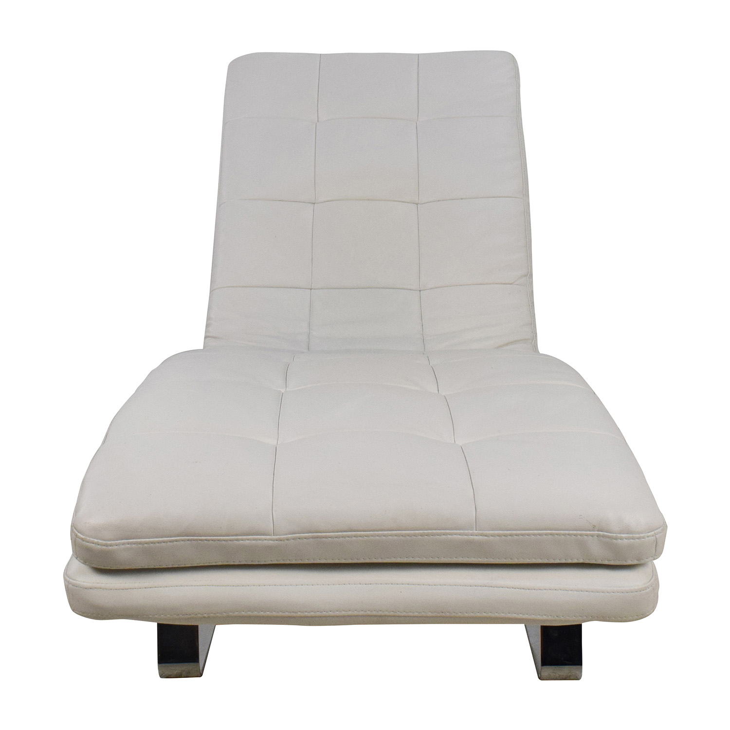 Faux Leather Quilted White Lounger Chaises
