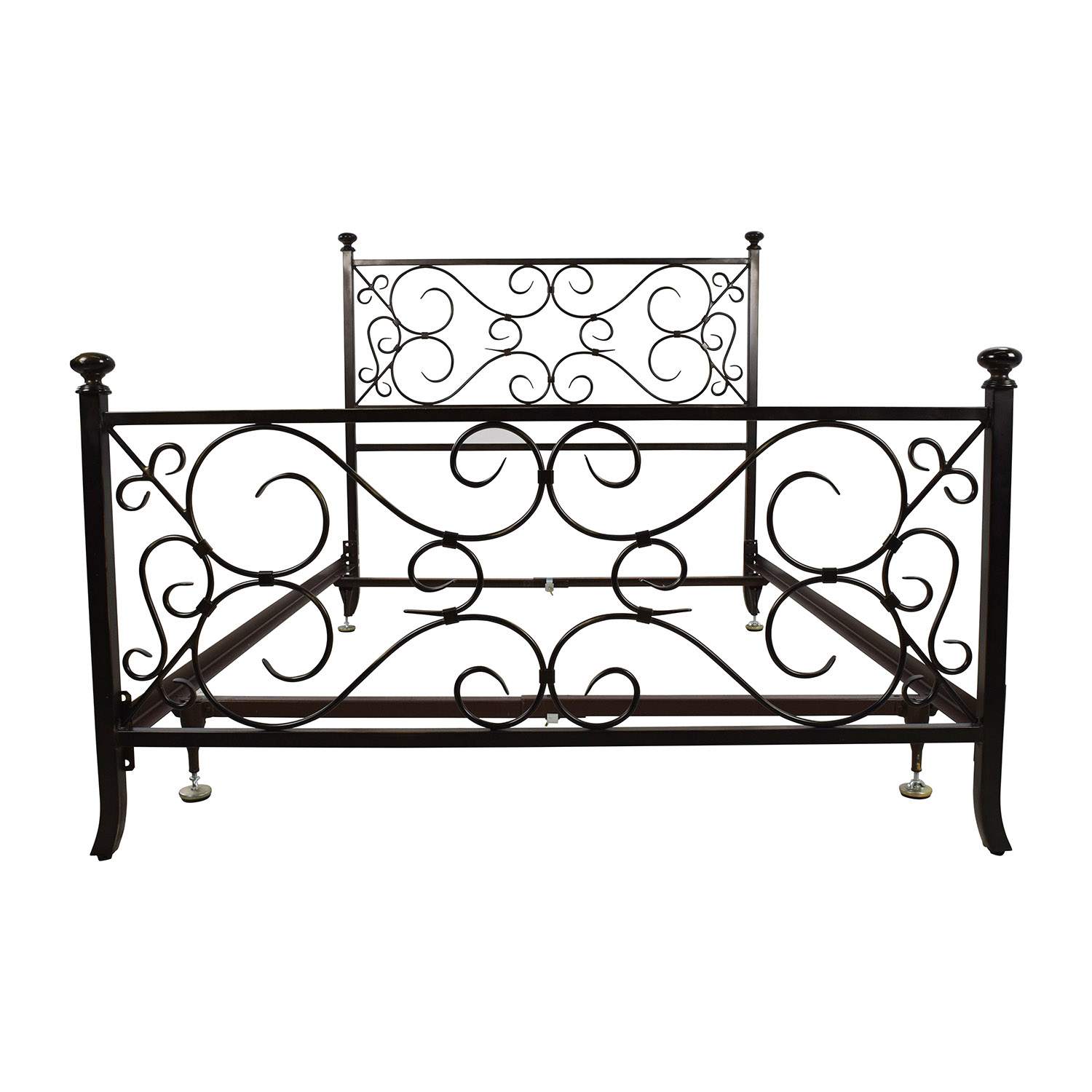 69% OFF - Black Scrolled Metal Bed Frame / Beds
