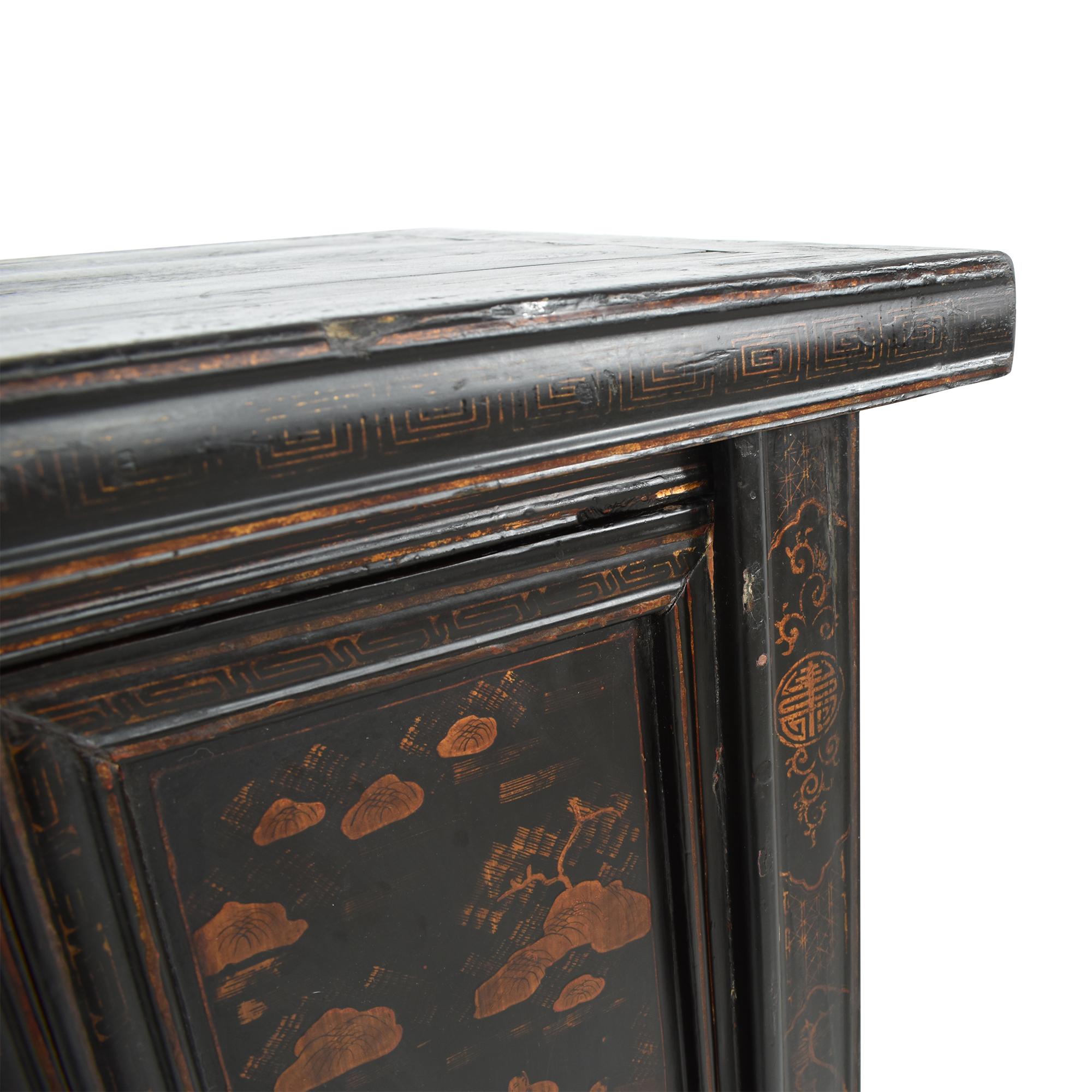 buy Vintage Black Asian Cabinet  Storage