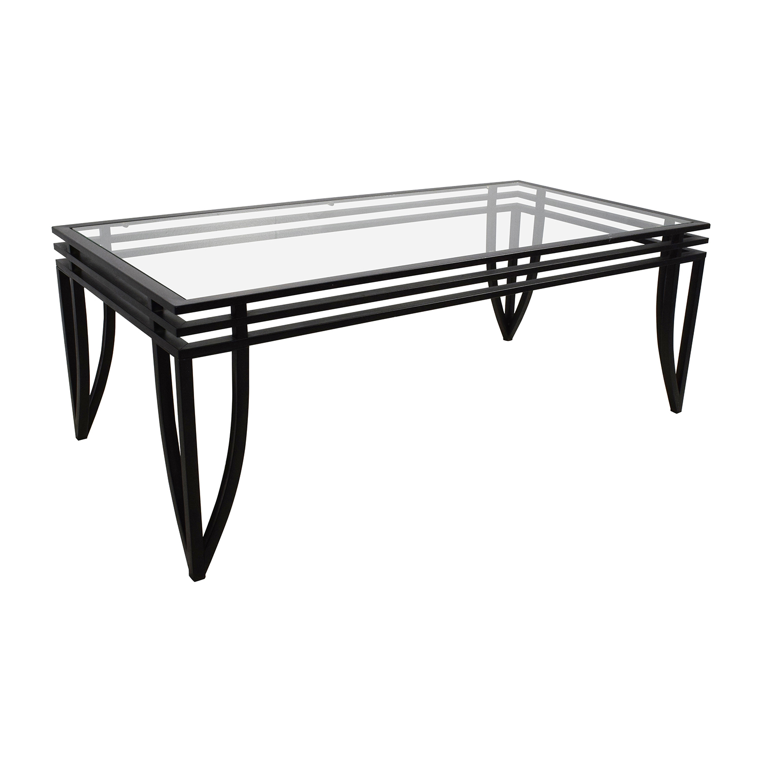 77 off ashley furniture ashley furniture rectangular glass and black coffee table tables Black coffee table with glass