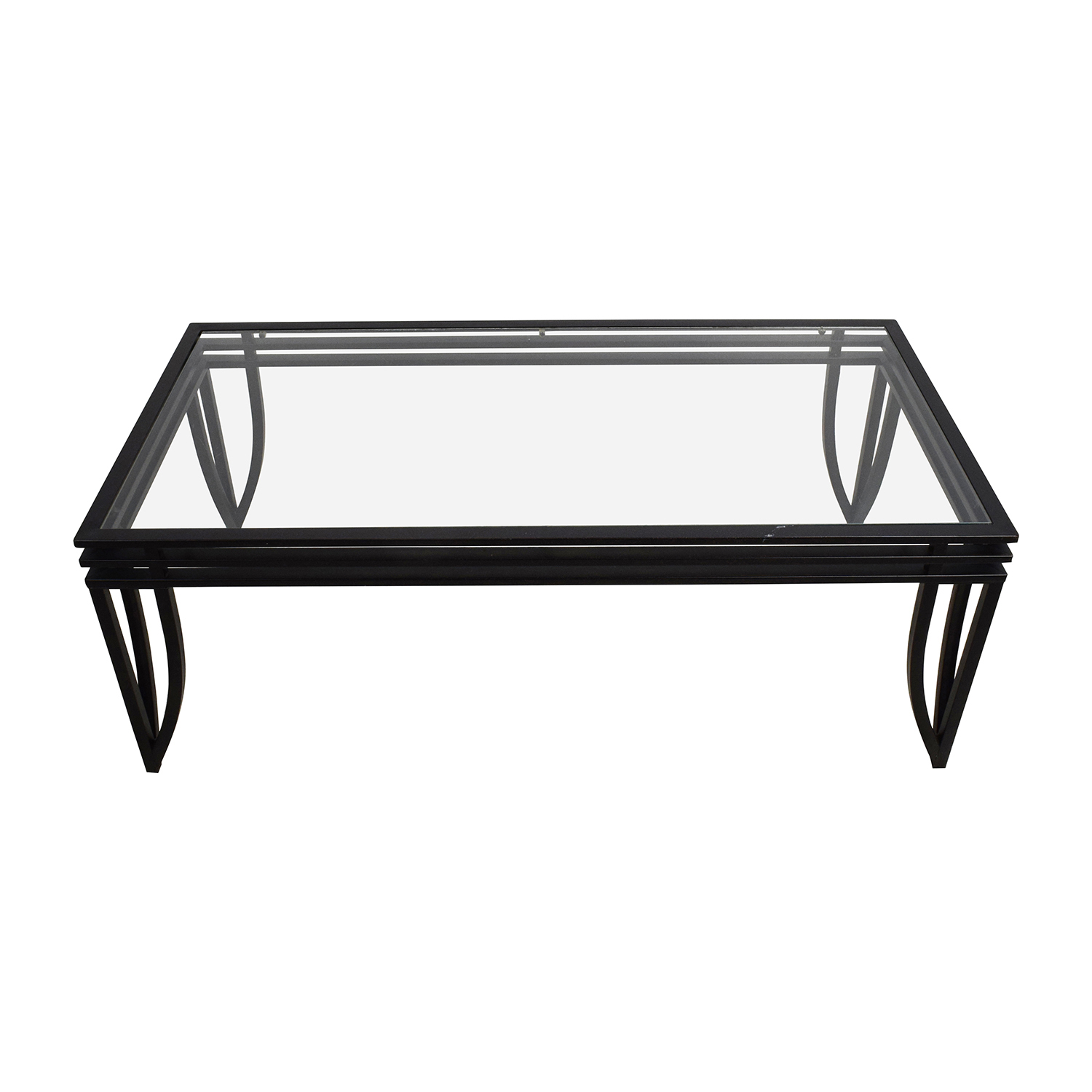 59% OFF Wood and Glass Oval Coffee Table Tables