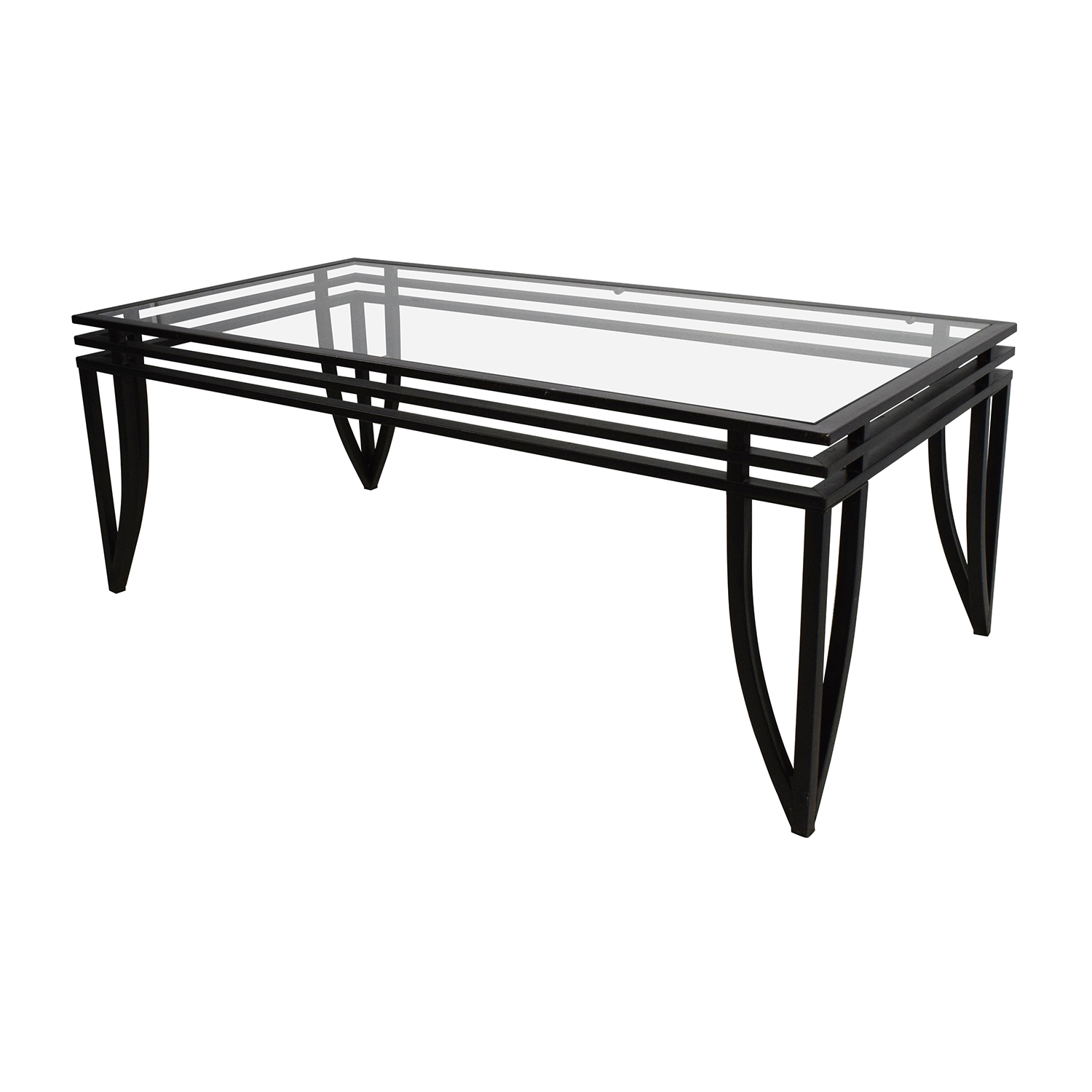 77 off ashley furniture ashley furniture rectangular glass and black coffee table tables Used glass coffee table