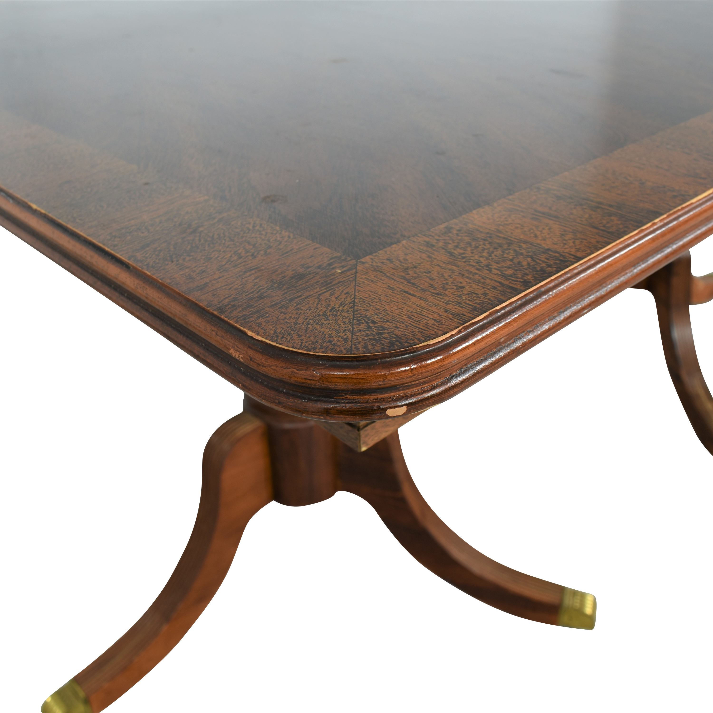 buy Chippendale Double Pedestal Extendable Dining Table