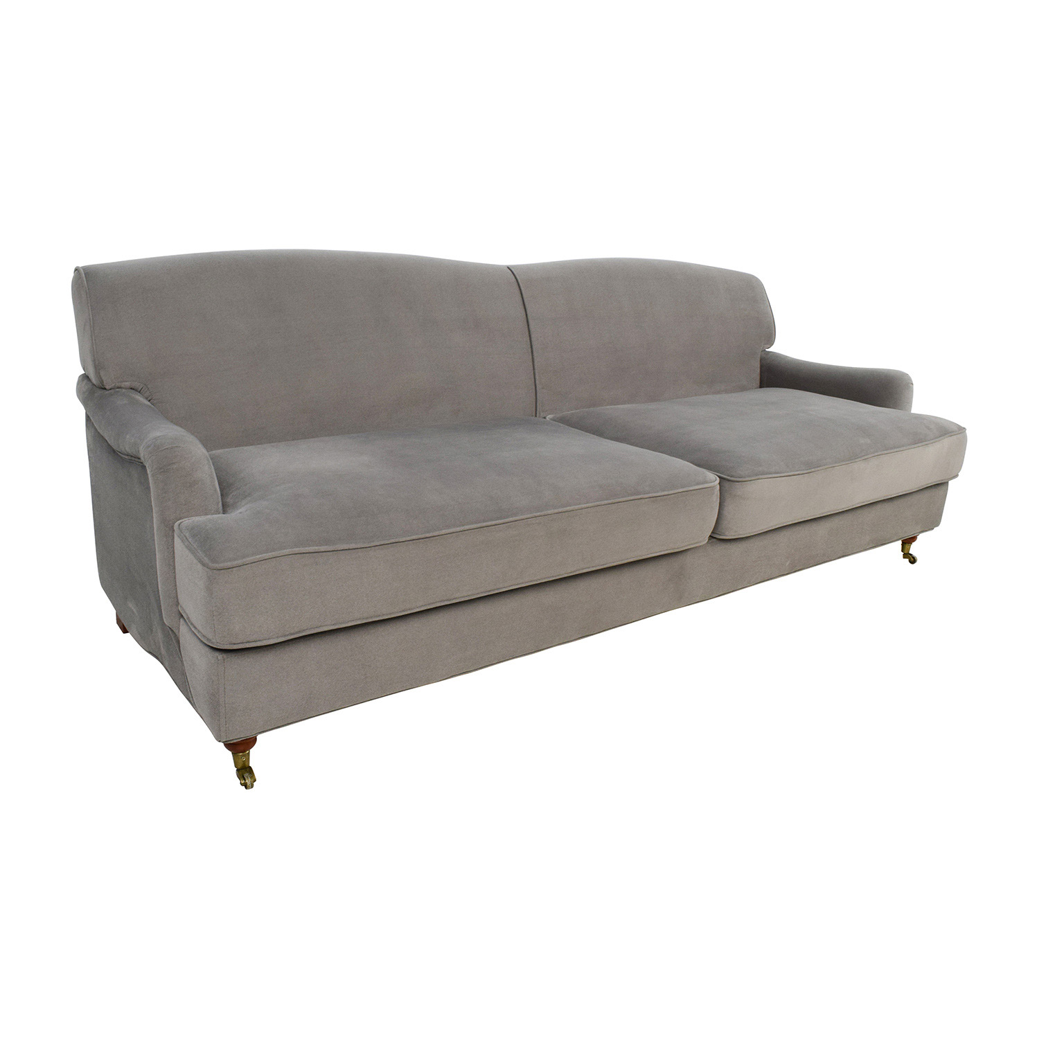 50 off overstock mid century grey microfiber sofa sofas for Microfiber sectional sofa