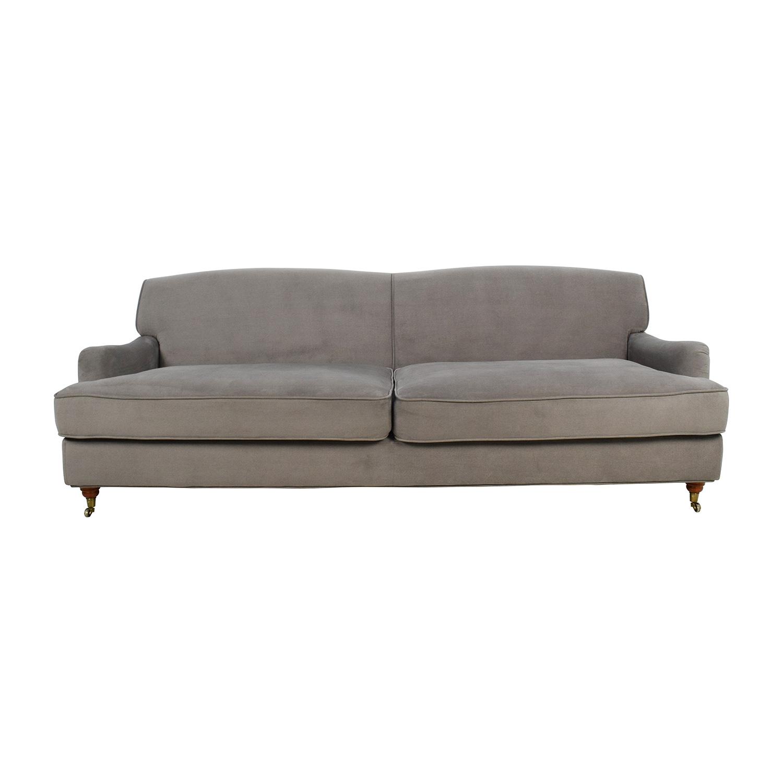 Incredible 50 Off Overstock Mid Century Grey Microfiber Sofa Sofas Machost Co Dining Chair Design Ideas Machostcouk