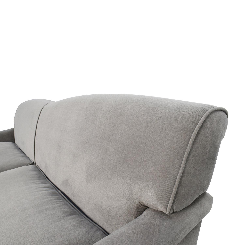 Superb 50 Off Overstock Mid Century Grey Microfiber Sofa Sofas Machost Co Dining Chair Design Ideas Machostcouk