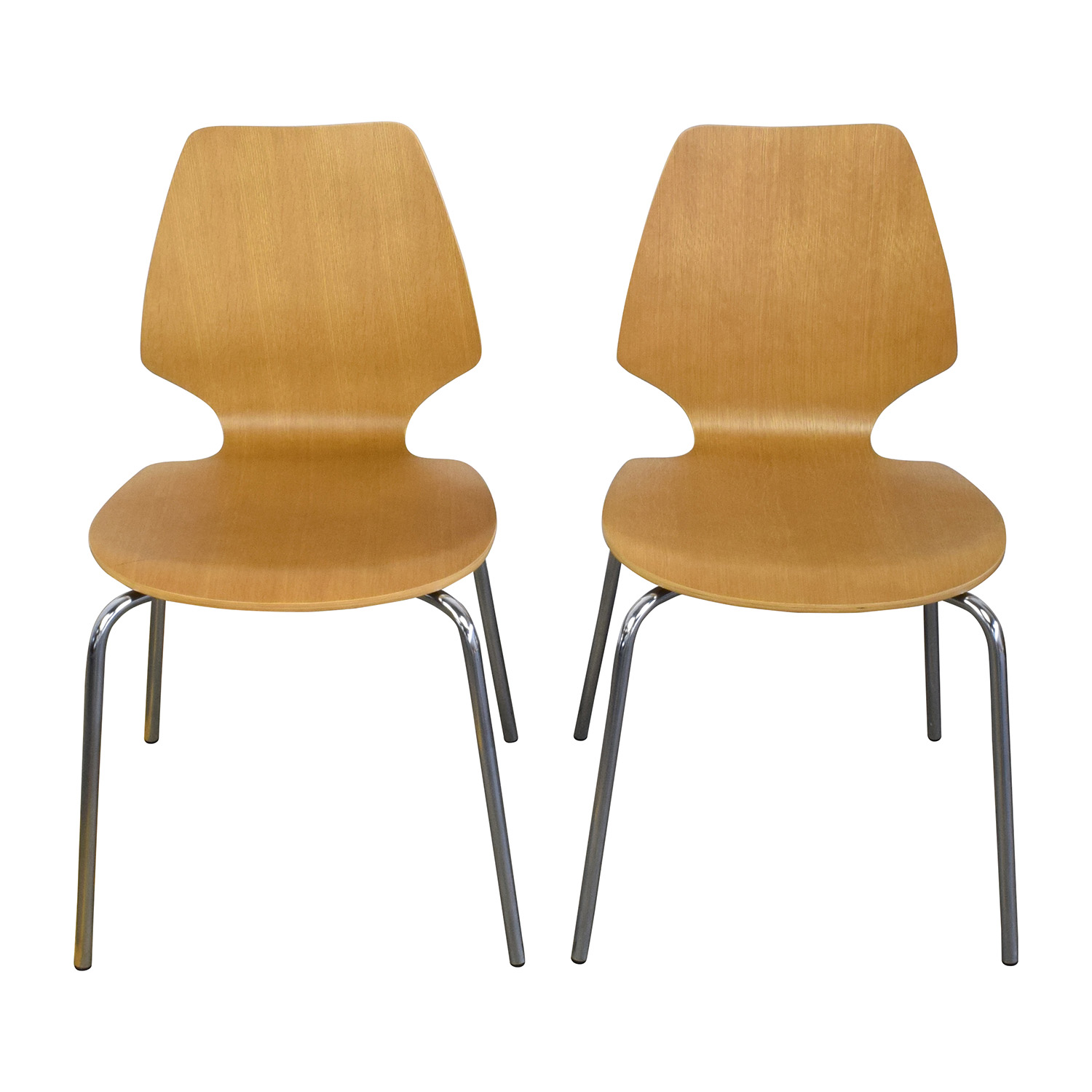 West Elm Scoop-Back Natural Wood Chairs sale