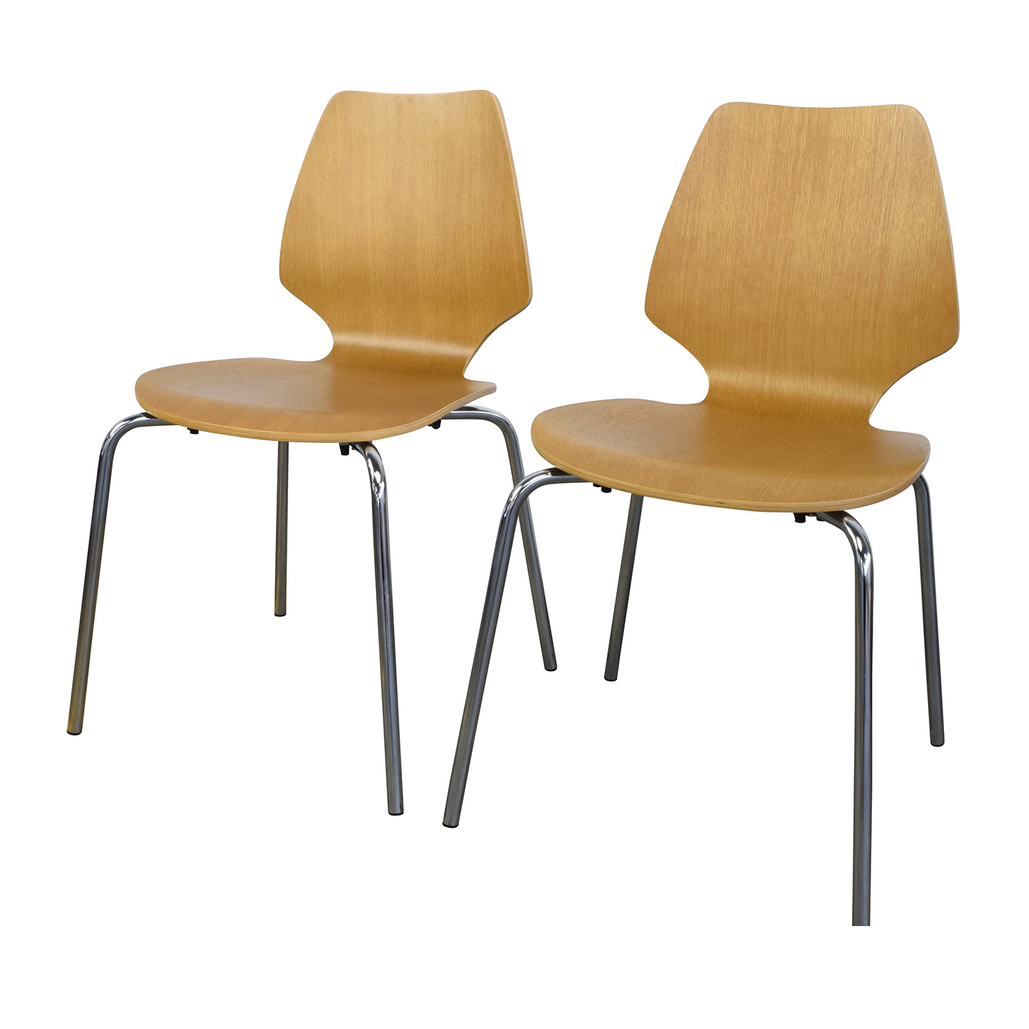 ... West Elm West Elm Scoop Back Natural Wood Chairs Dining Chairs ...