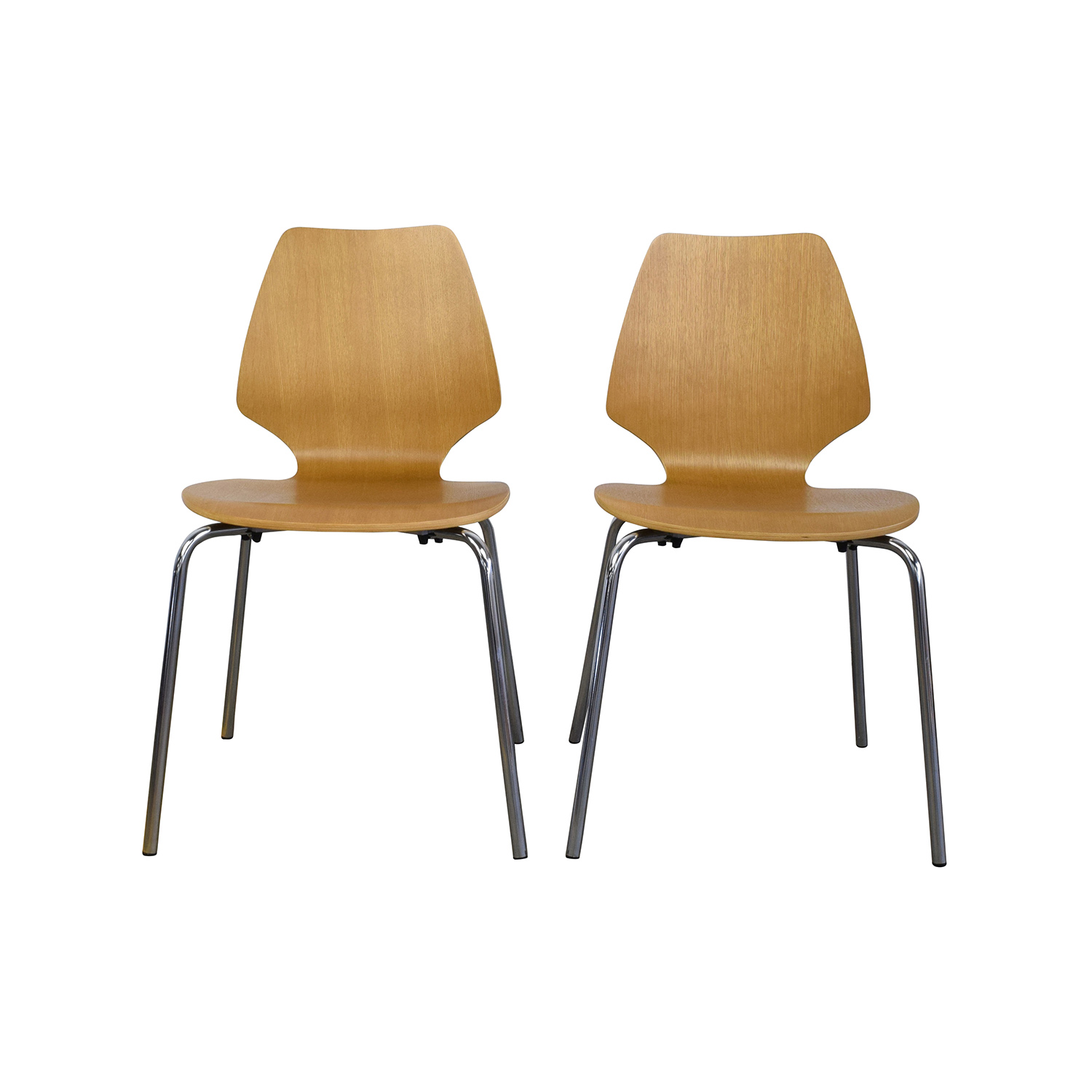 31% OFF   West Elm West Elm Scoop Back Natural Wood Chairs / Chairs