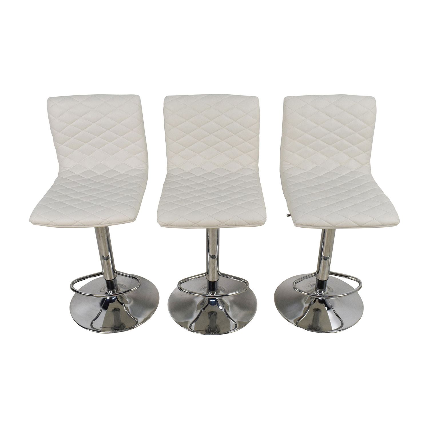 White Quilted Bar Stool Chairs used