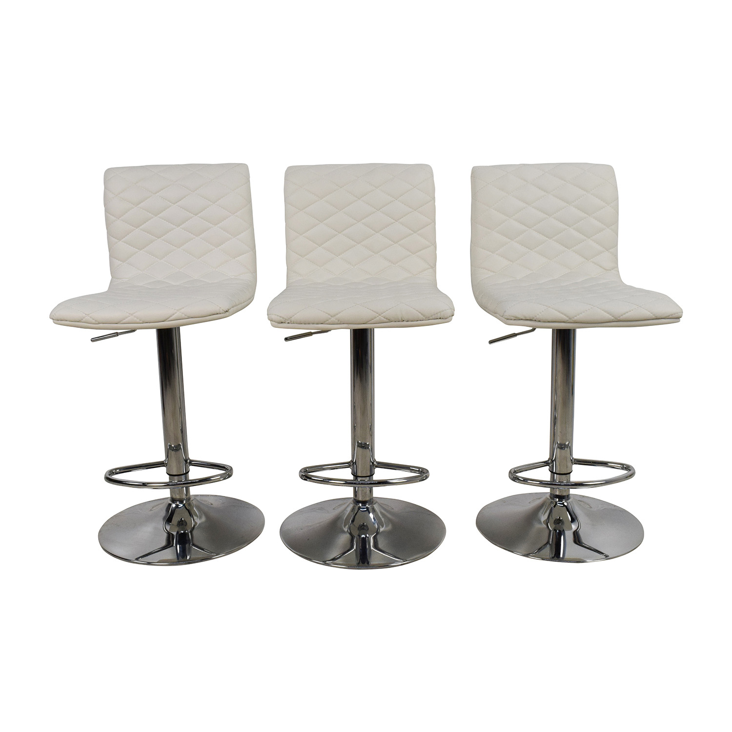 White Quilted Bar Stool Chairs white