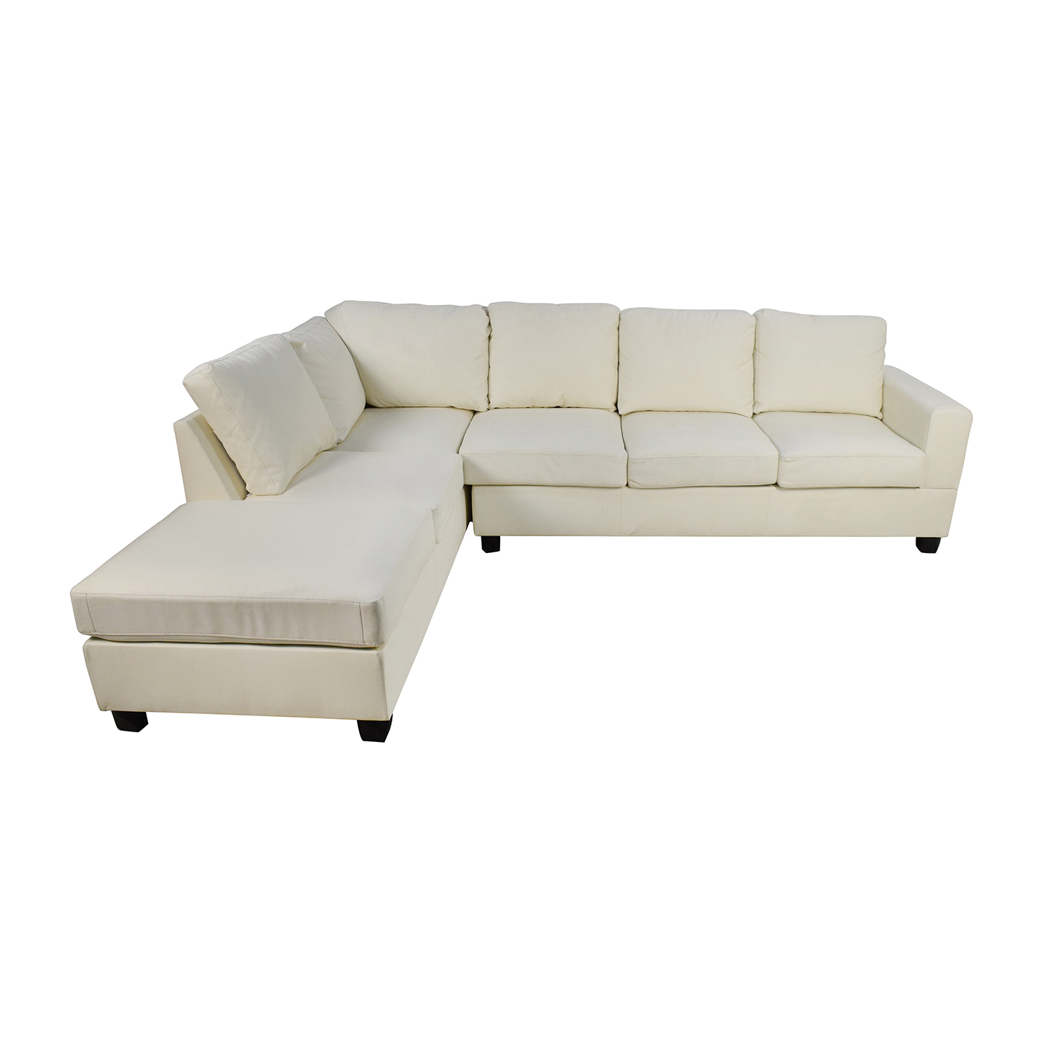 L-Shaped White Leather Sectional / Sofas