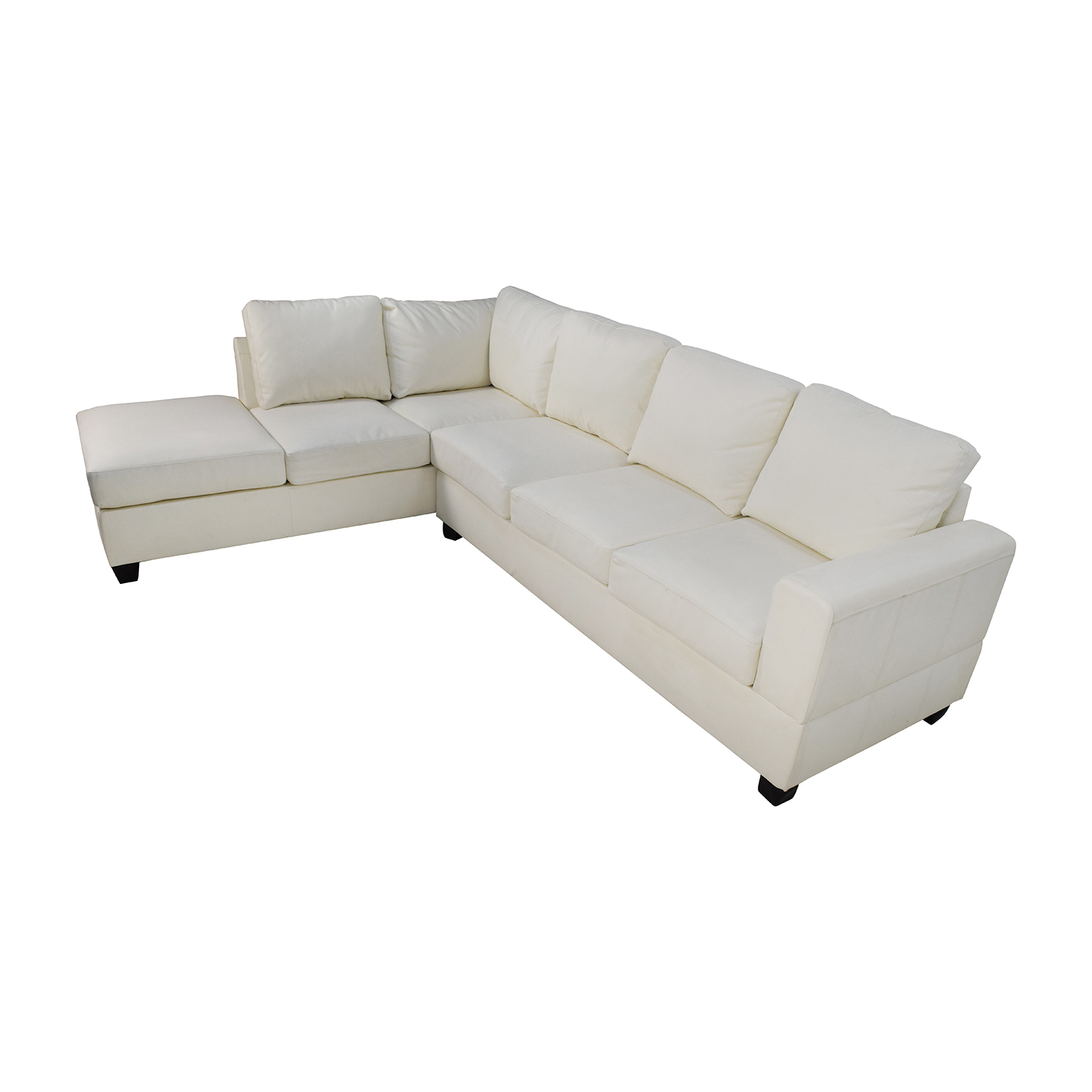 45% OFF - L-Shaped White Leather Sectional / Sofas