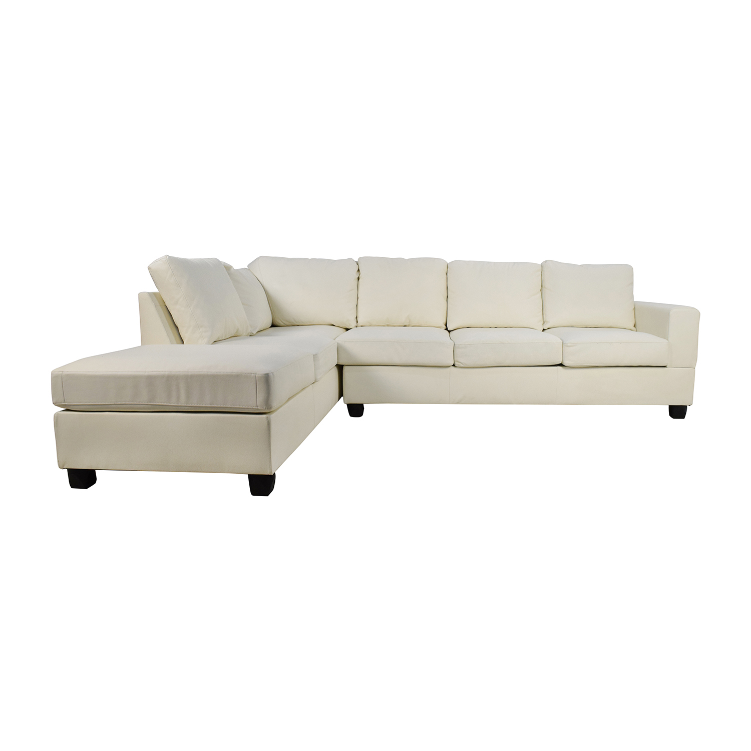 L-Shaped White Leather Sectional Sectionals