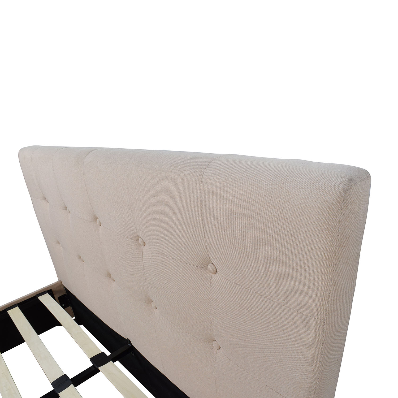 wayfair wayfair tufted tan fabric full bed frame