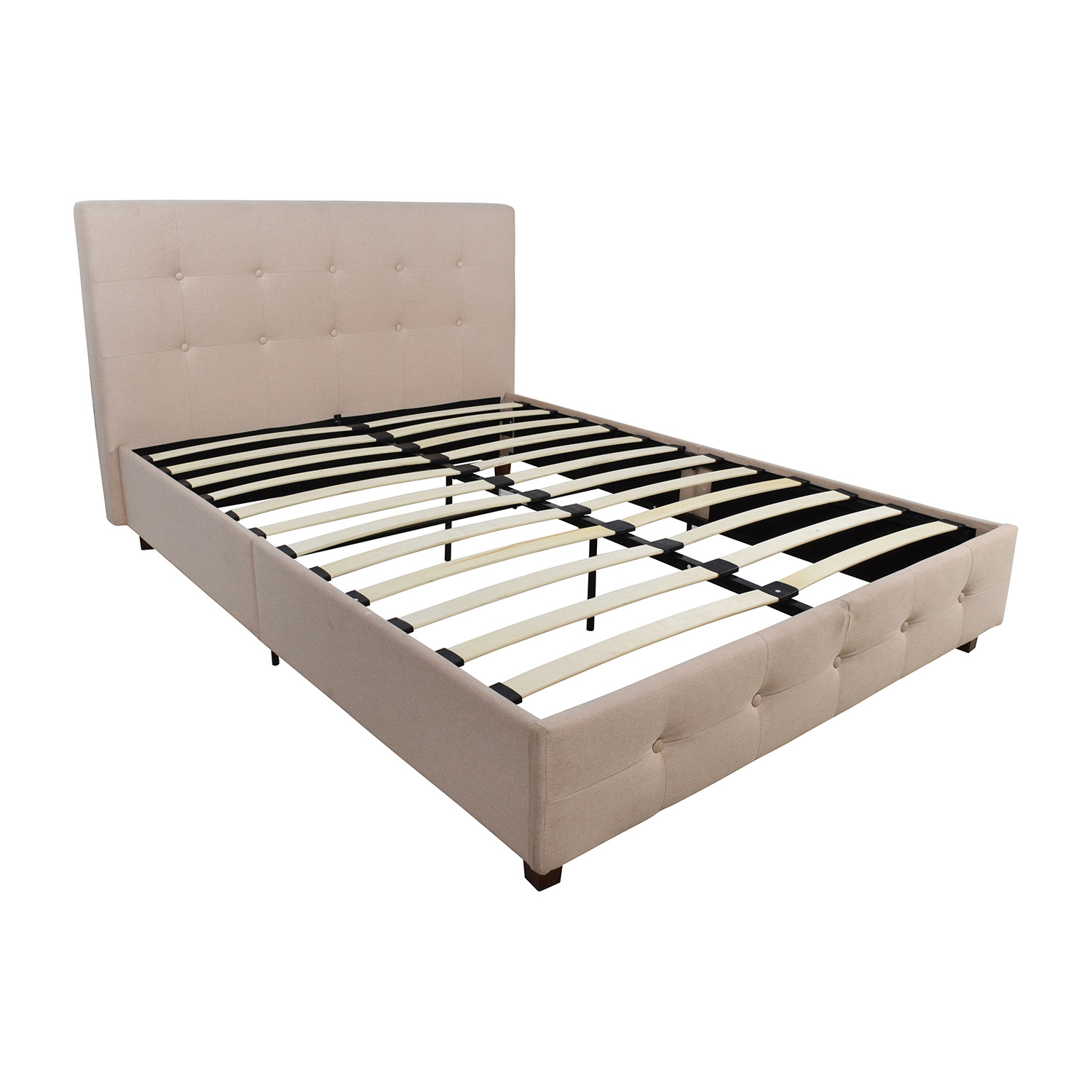 62 off wayfair wayfair tufted tan fabric full bed frame beds. Black Bedroom Furniture Sets. Home Design Ideas