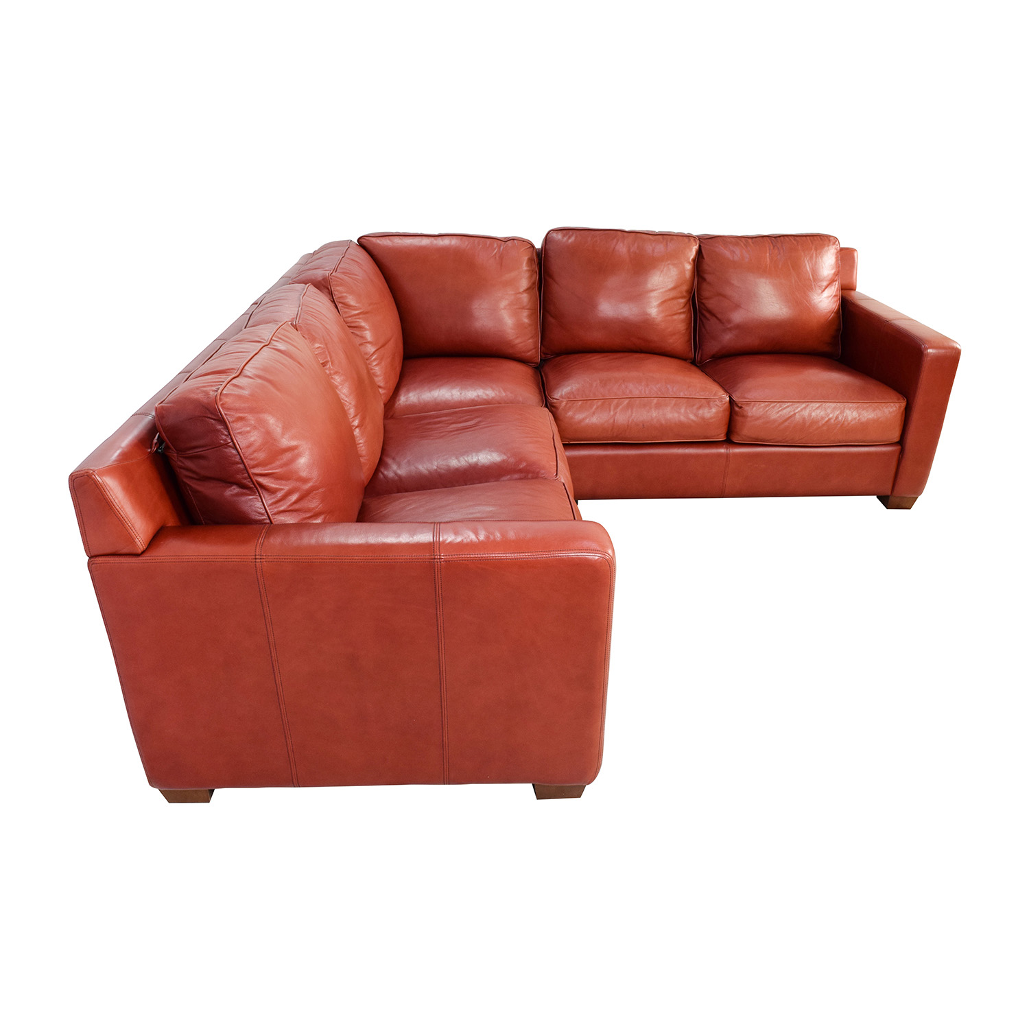 68 off thomasville thomasville red leather sectional for Small sectional sofa thomasville