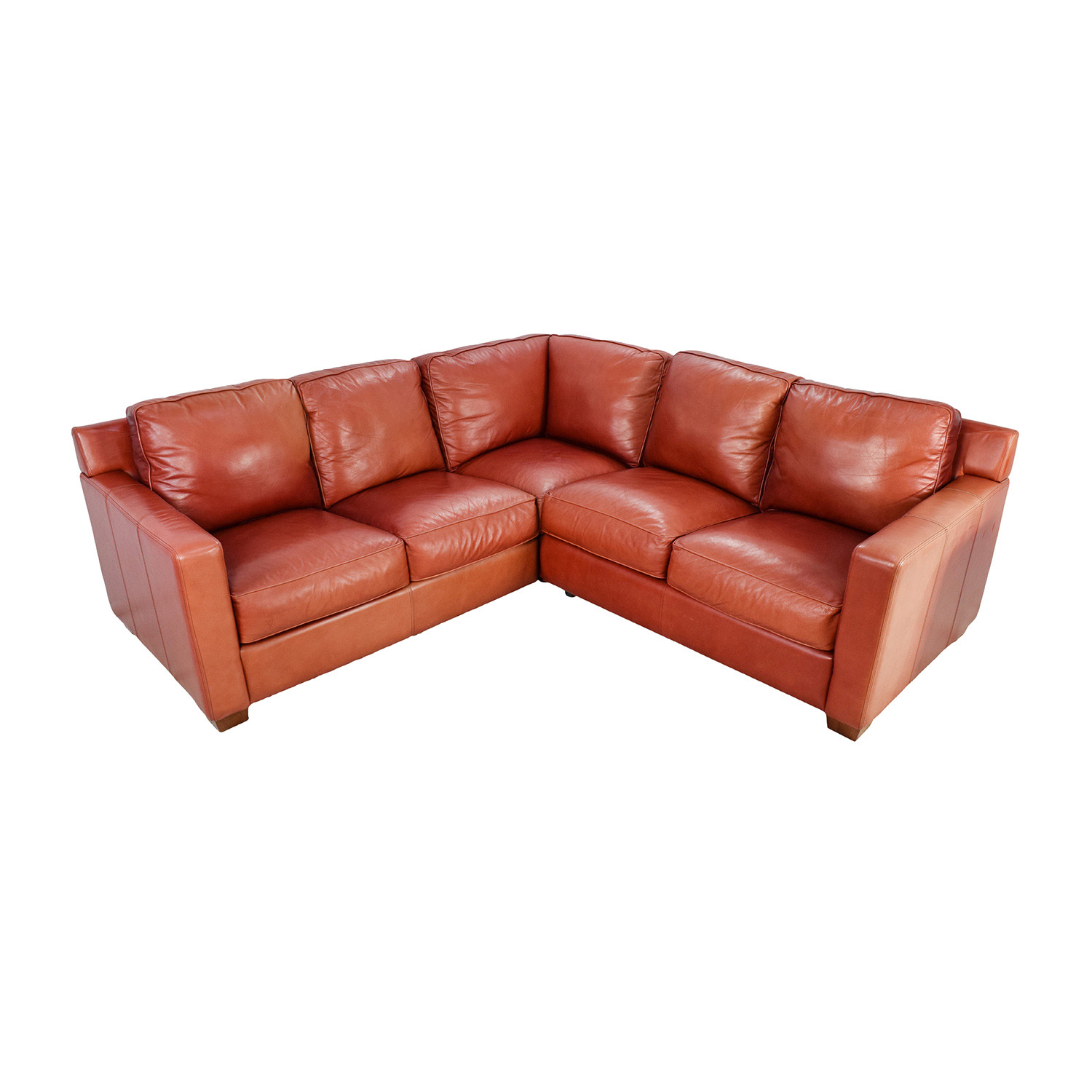 Thomasville Red Leather Sectional Thomasville