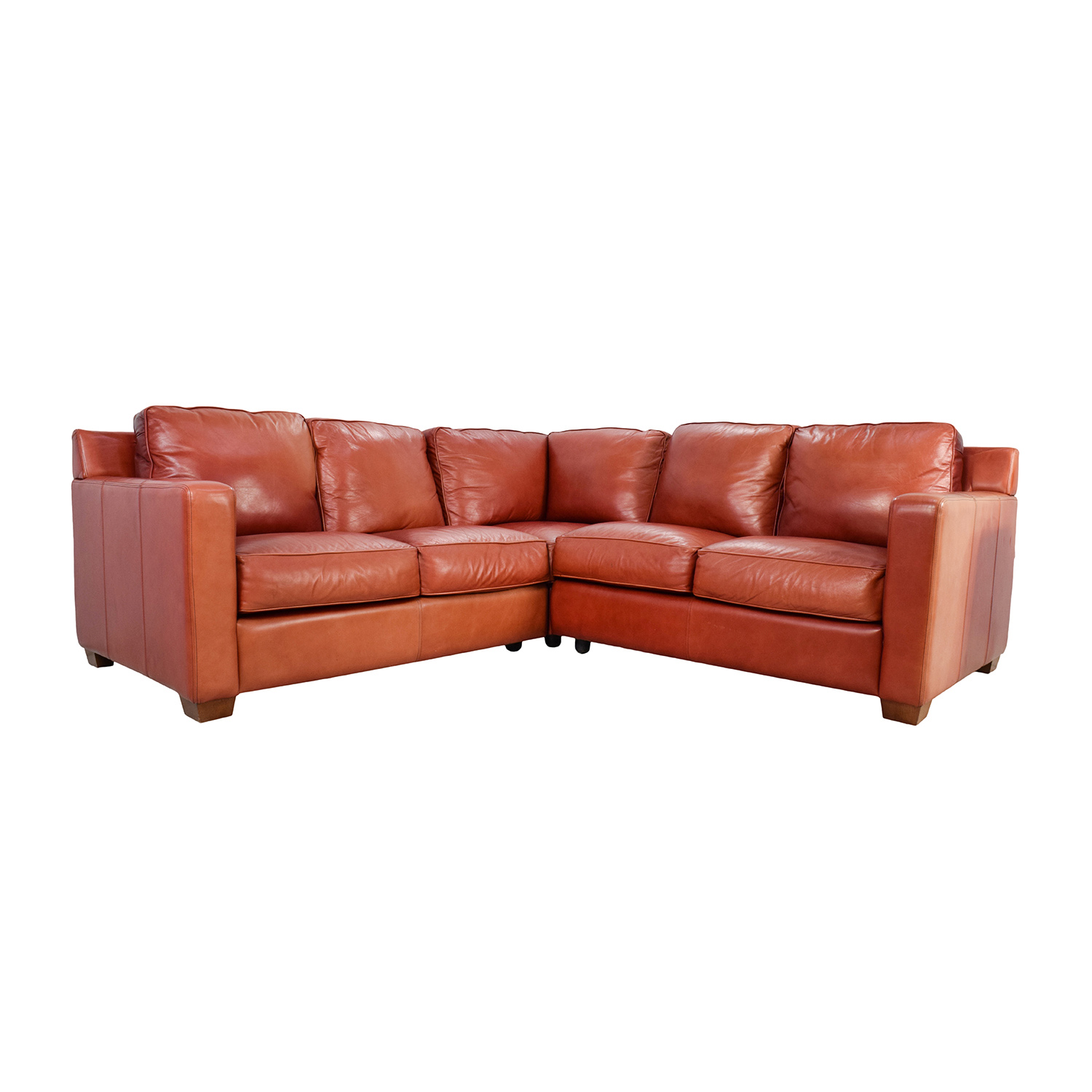 68% OFF - Thomasville Thomasville Red Leather Sectional / Sofas