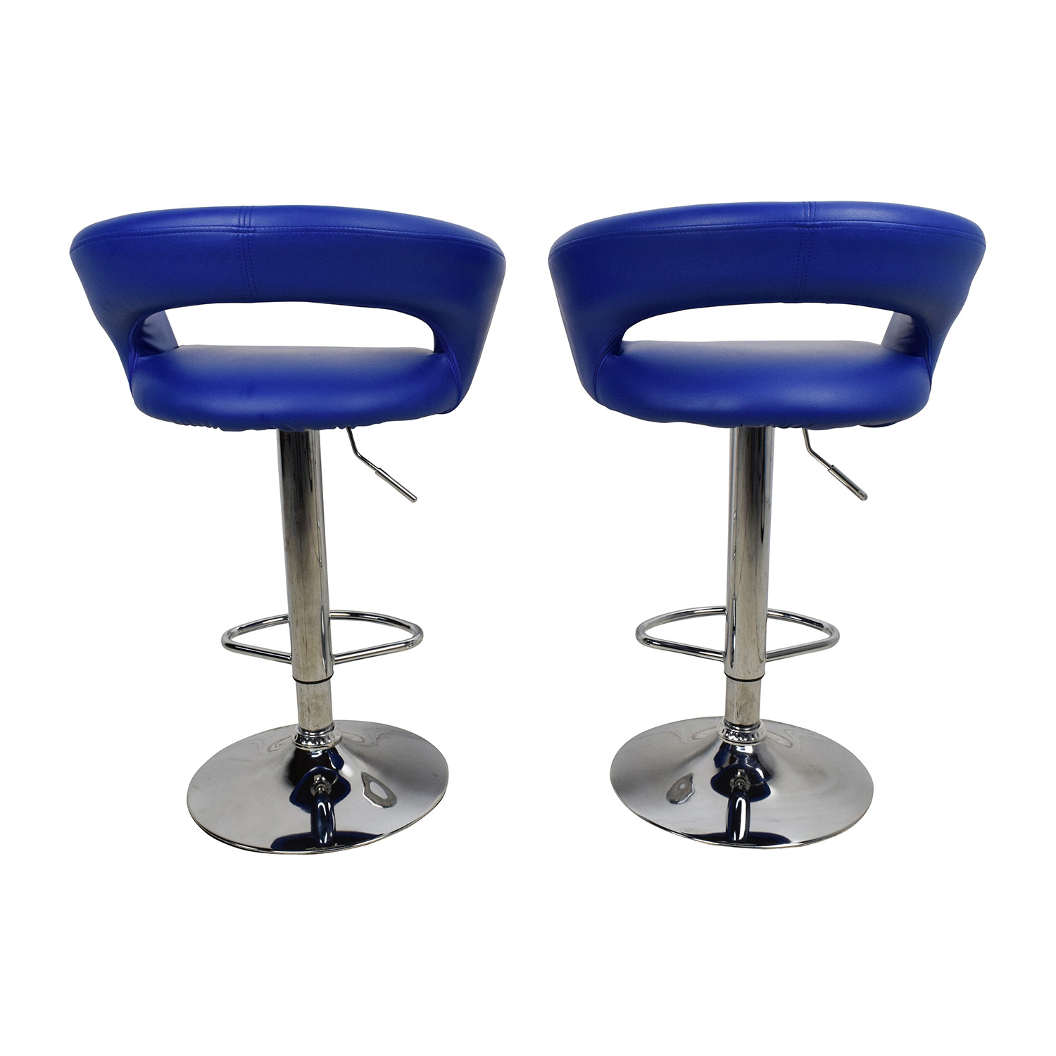 Awesome 79 Off Allmodern All Modern Blue Leather Adjustable Height Swivel Bar Stools Chairs Pdpeps Interior Chair Design Pdpepsorg