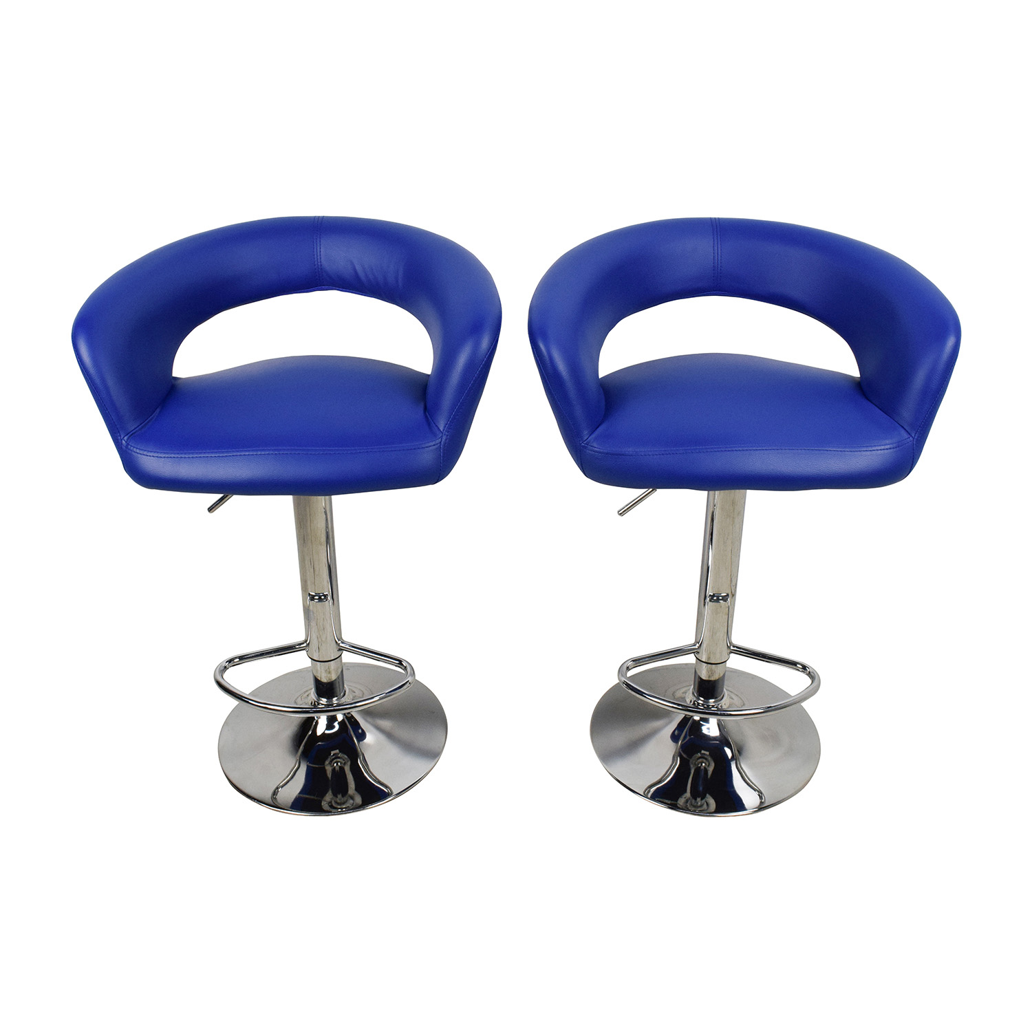 All Modern All Modern Blue Leather Adjustable Height Swivel Bar Stools Chairs