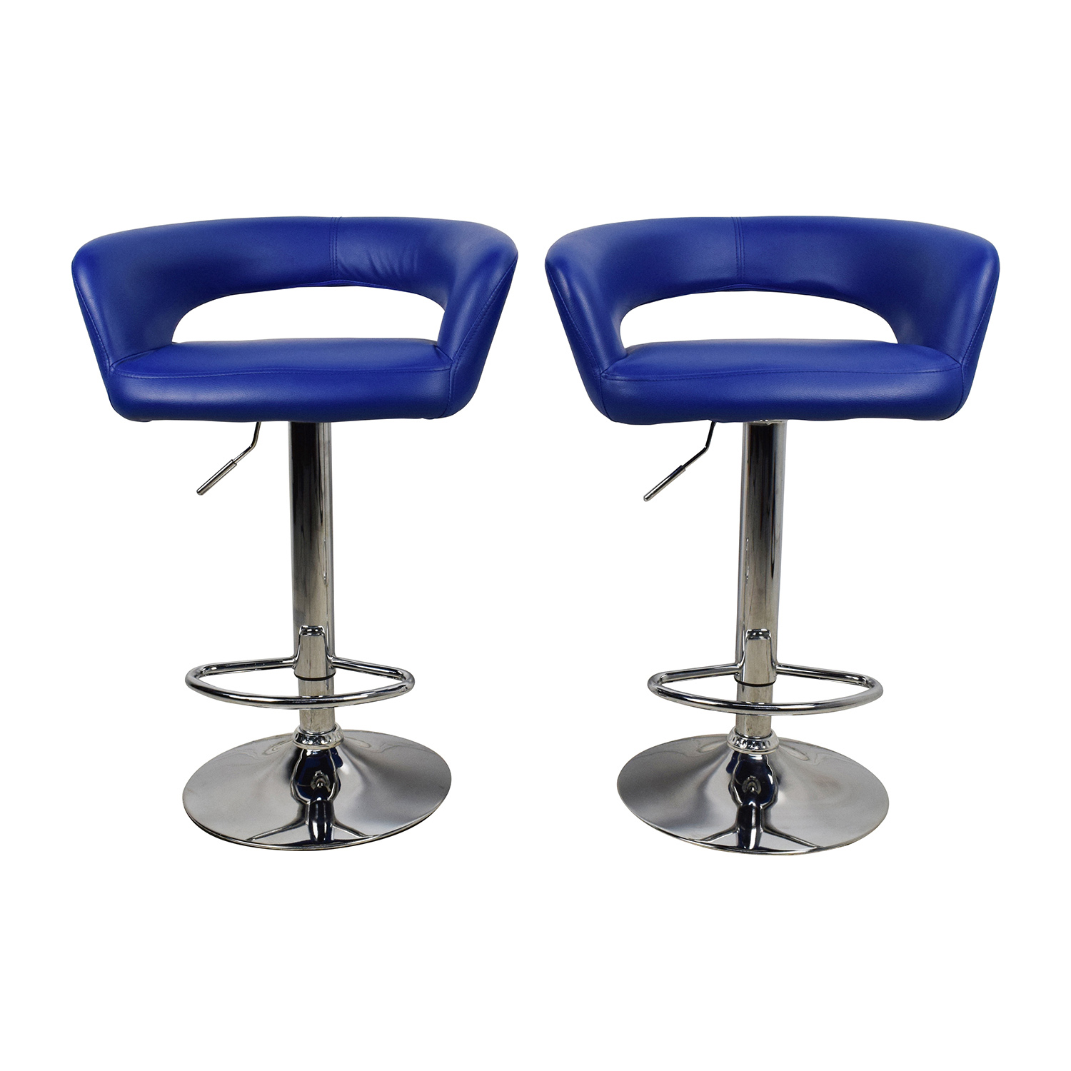 All Modern Blue Leather Adjustable Height Swivel Bar Stools / Chairs ...