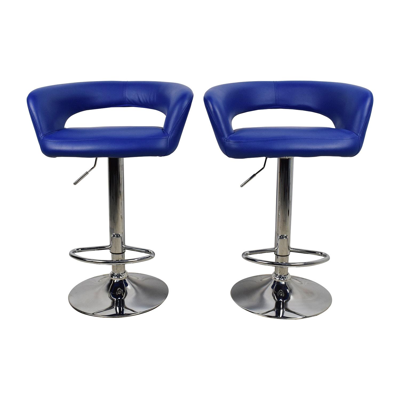 Stupendous 79 Off Allmodern All Modern Blue Leather Adjustable Height Swivel Bar Stools Chairs Evergreenethics Interior Chair Design Evergreenethicsorg
